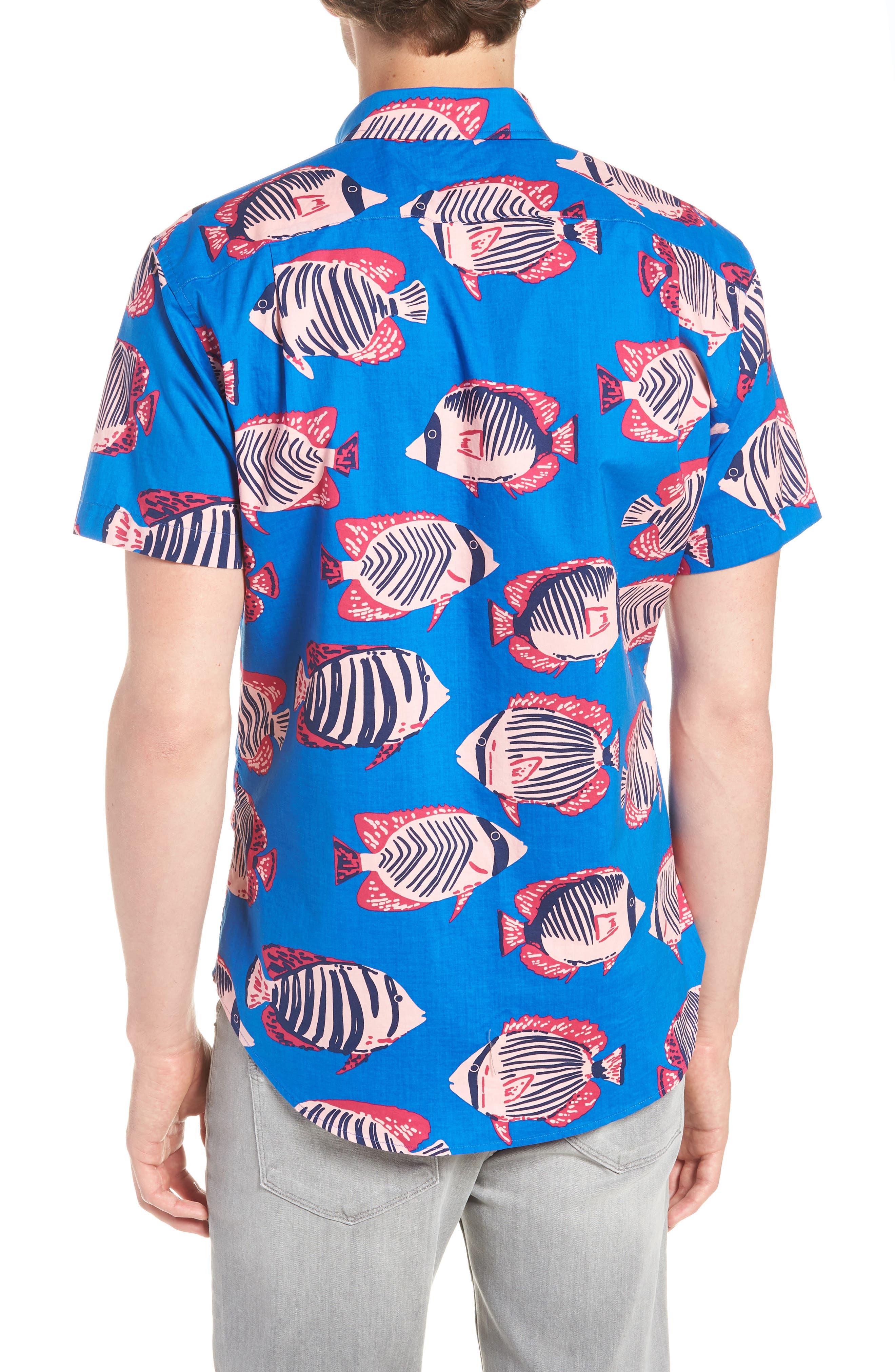 Riviera Slim Fit Fish Print Sport Shirt,                             Alternate thumbnail 2, color,