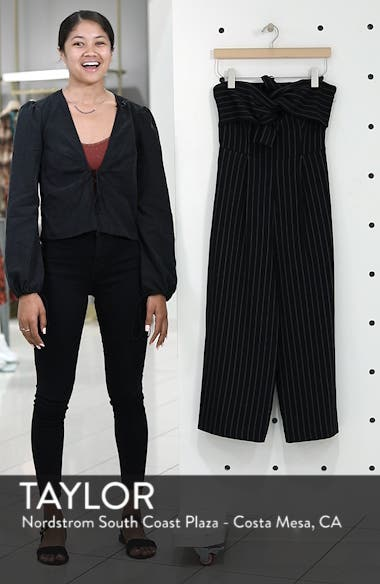 Pinstripe Tie Front Jumpsuit, sales video thumbnail