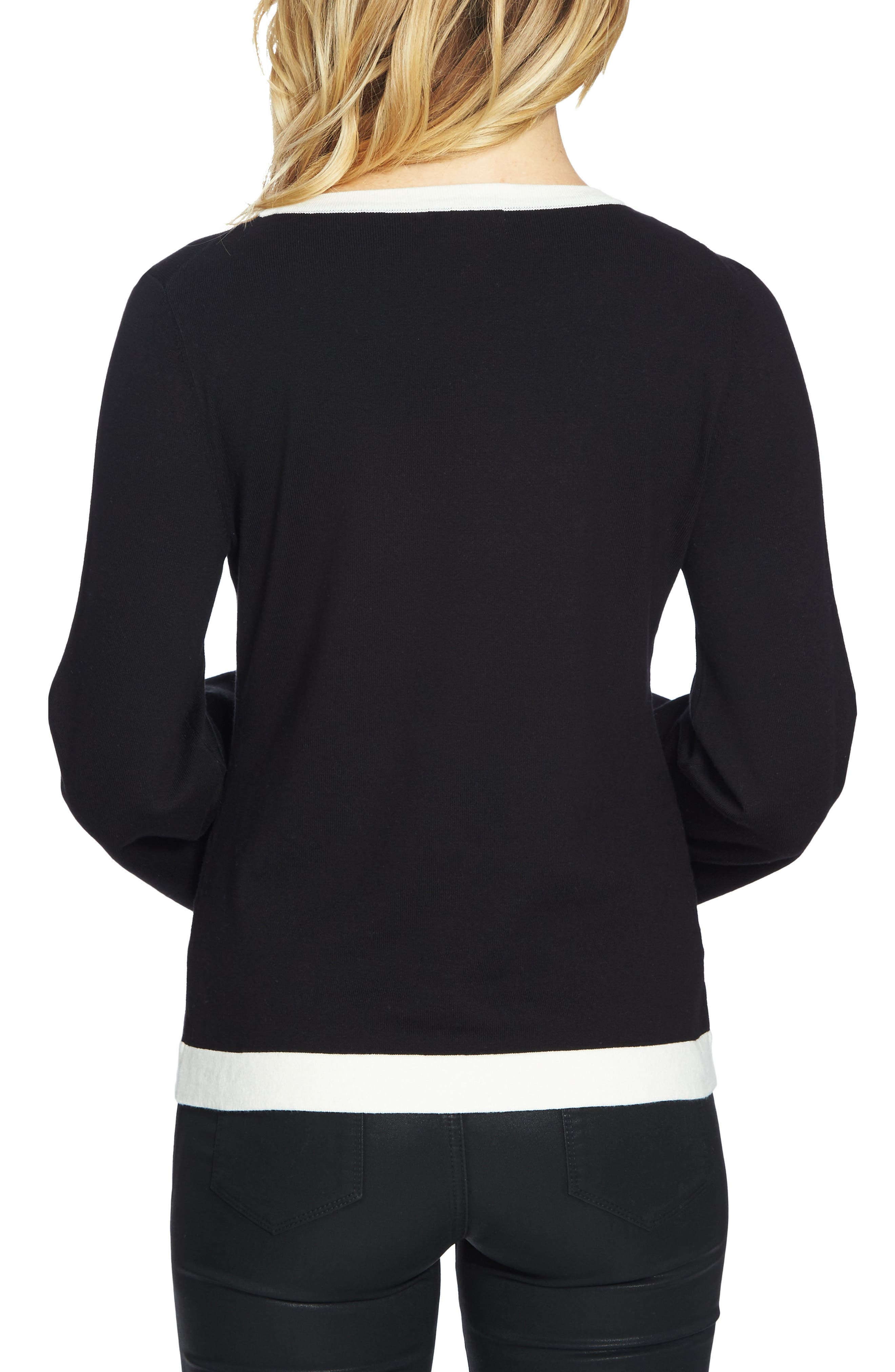 Contrast Tipped Bell Sleeve Sweater,                             Alternate thumbnail 2, color,                             001