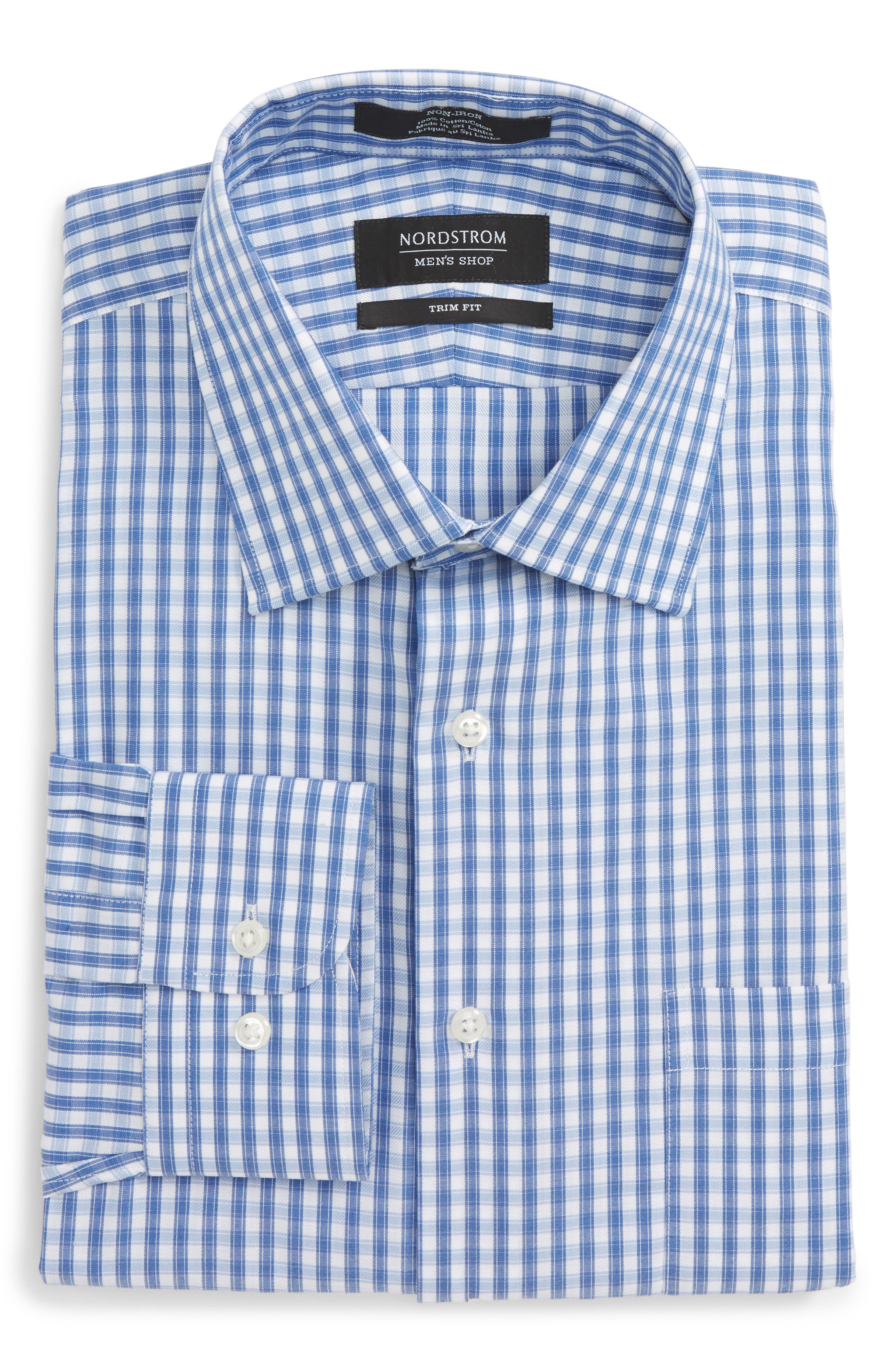 Trim Fit Non-Iron Check Dress Shirt,                             Alternate thumbnail 14, color,