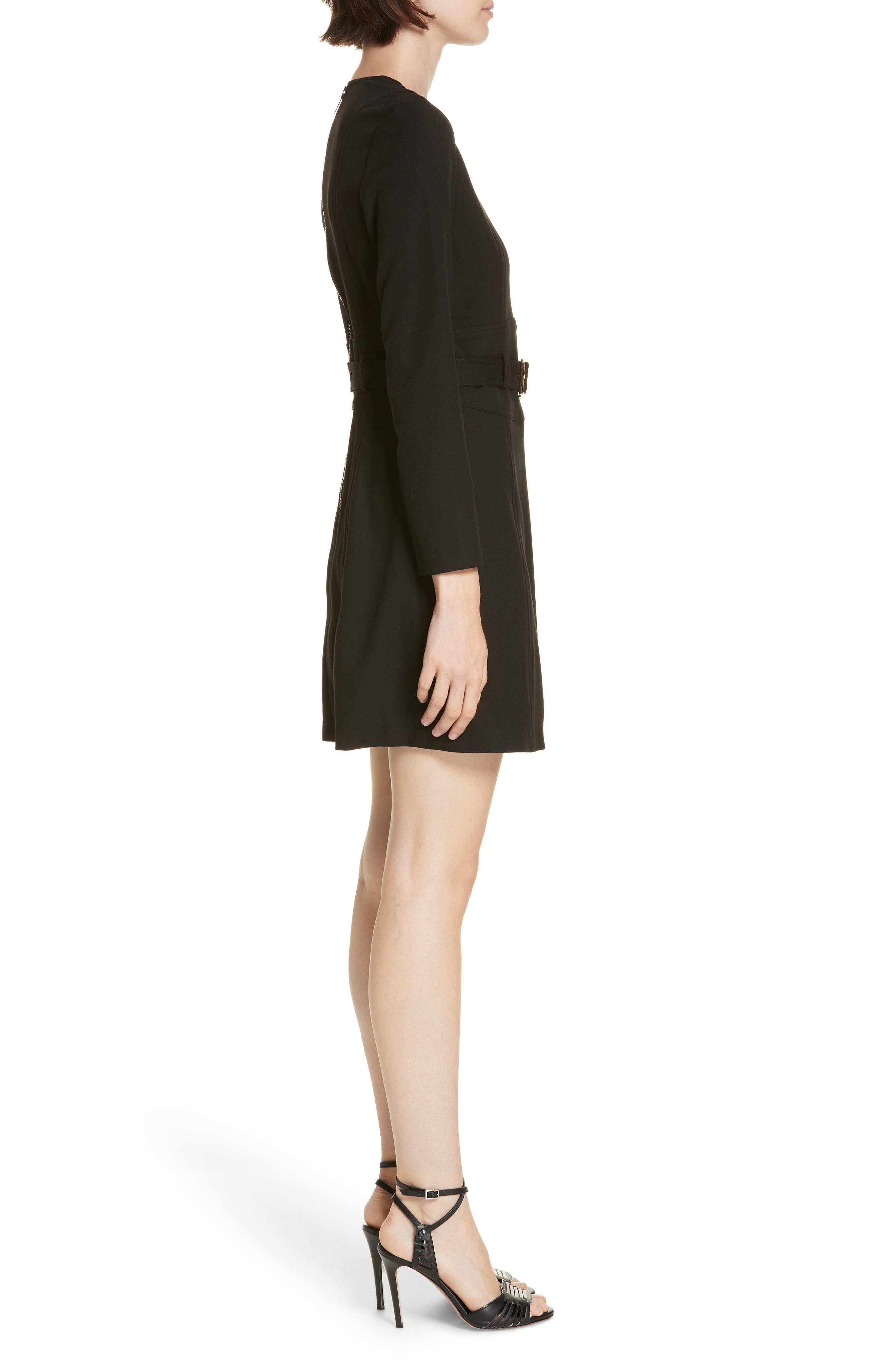 Nora Belted Minidress,                             Alternate thumbnail 3, color,                             BLACK