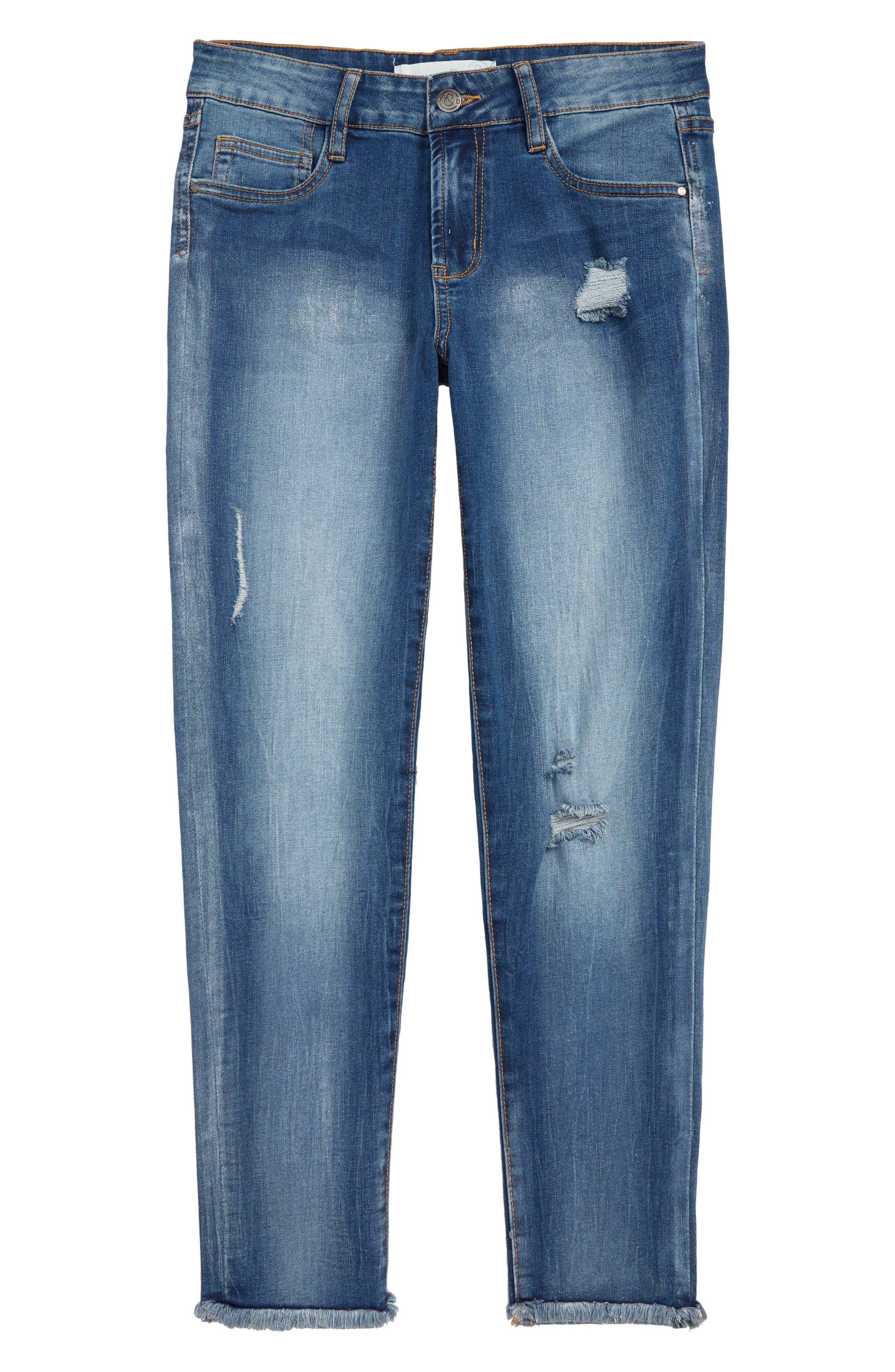 Sparkle Distressed Girlfriend Jeans,                             Main thumbnail 1, color,                             FAIRY WASH