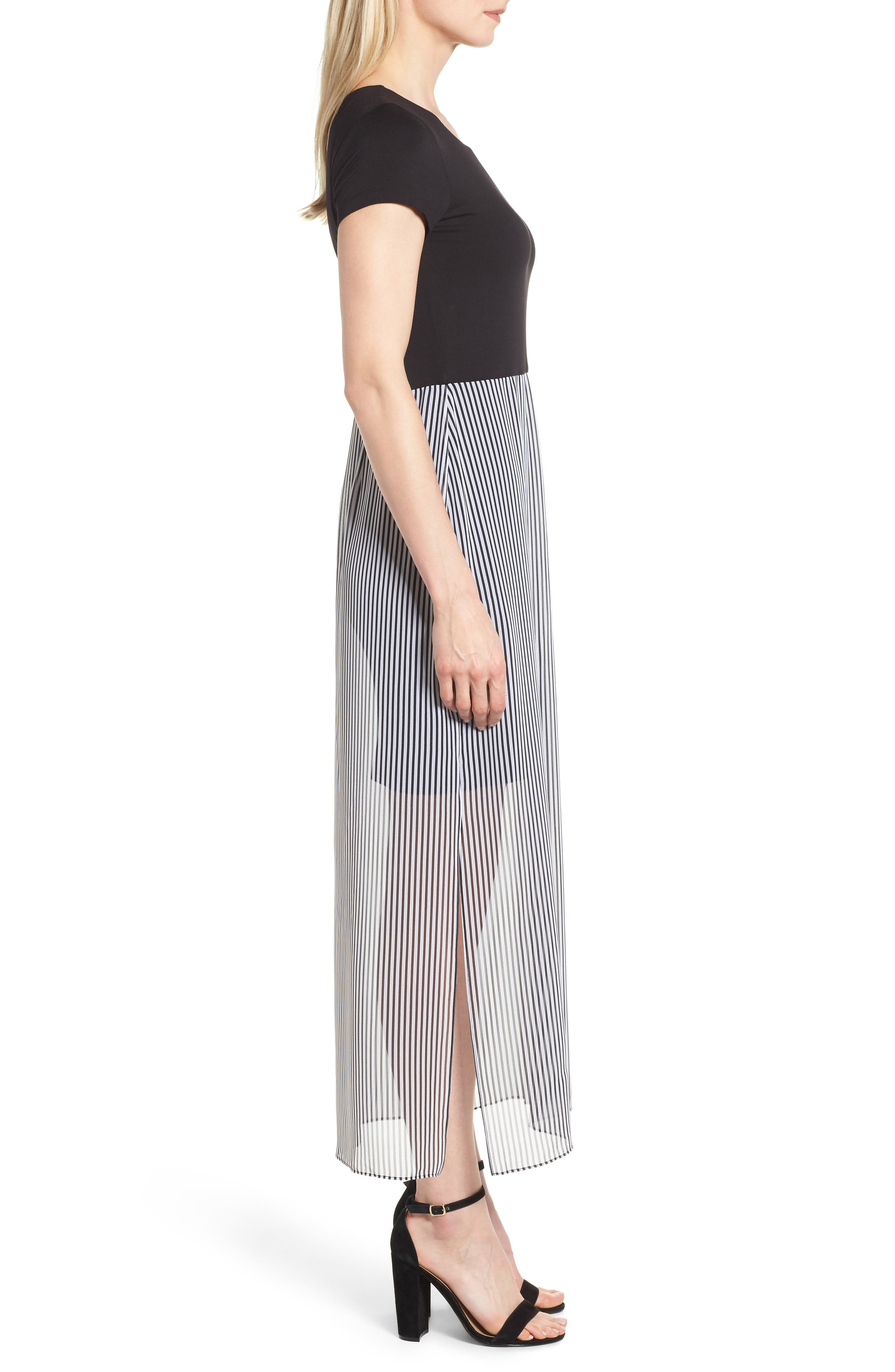 Stripe Chiffon Overlay Maxi Dress,                             Alternate thumbnail 3, color,                             RICH BLACK