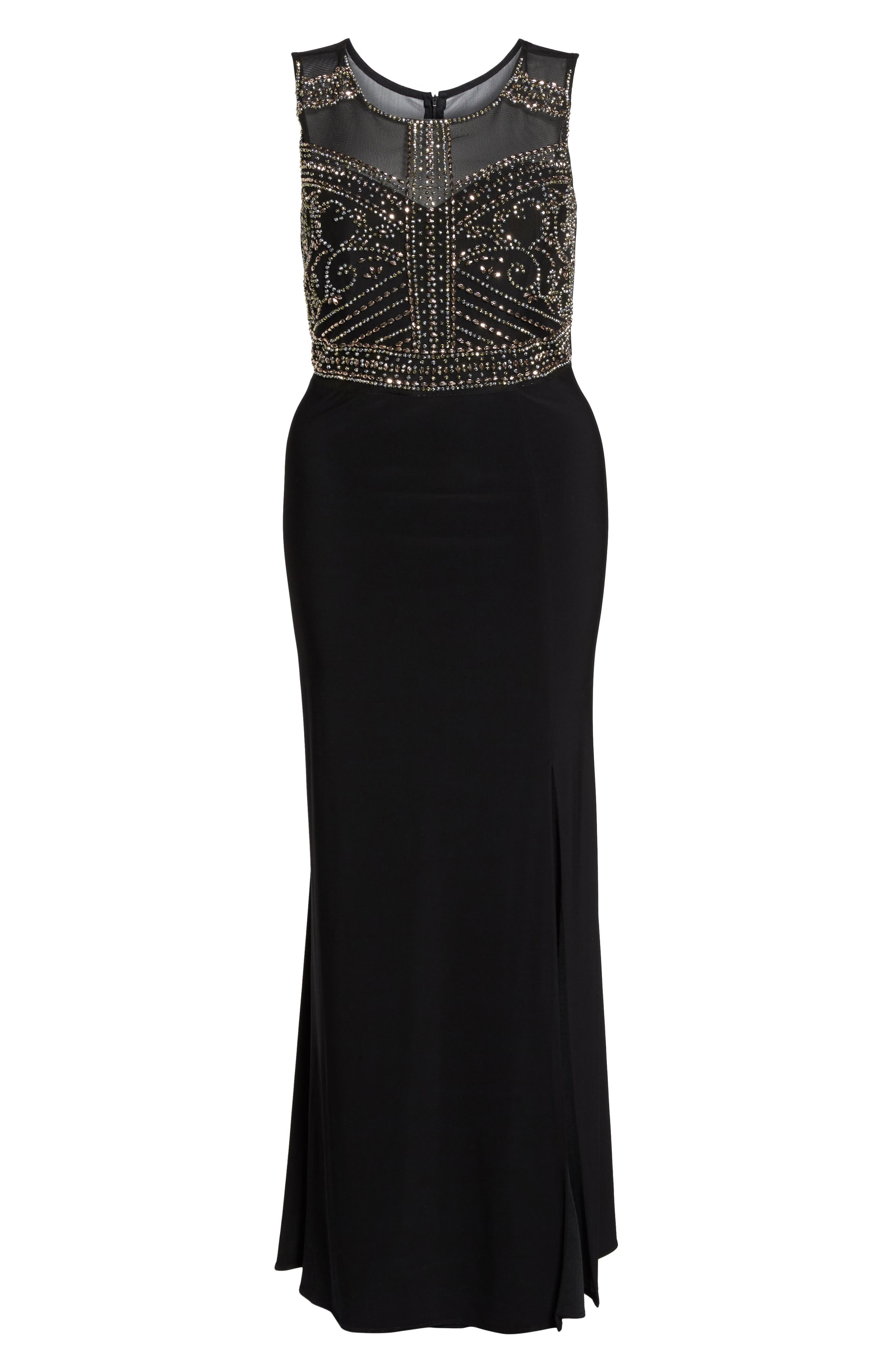 MORGAN & CO.,                             Beaded Sheer Back Gown,                             Alternate thumbnail 6, color,                             BLACK