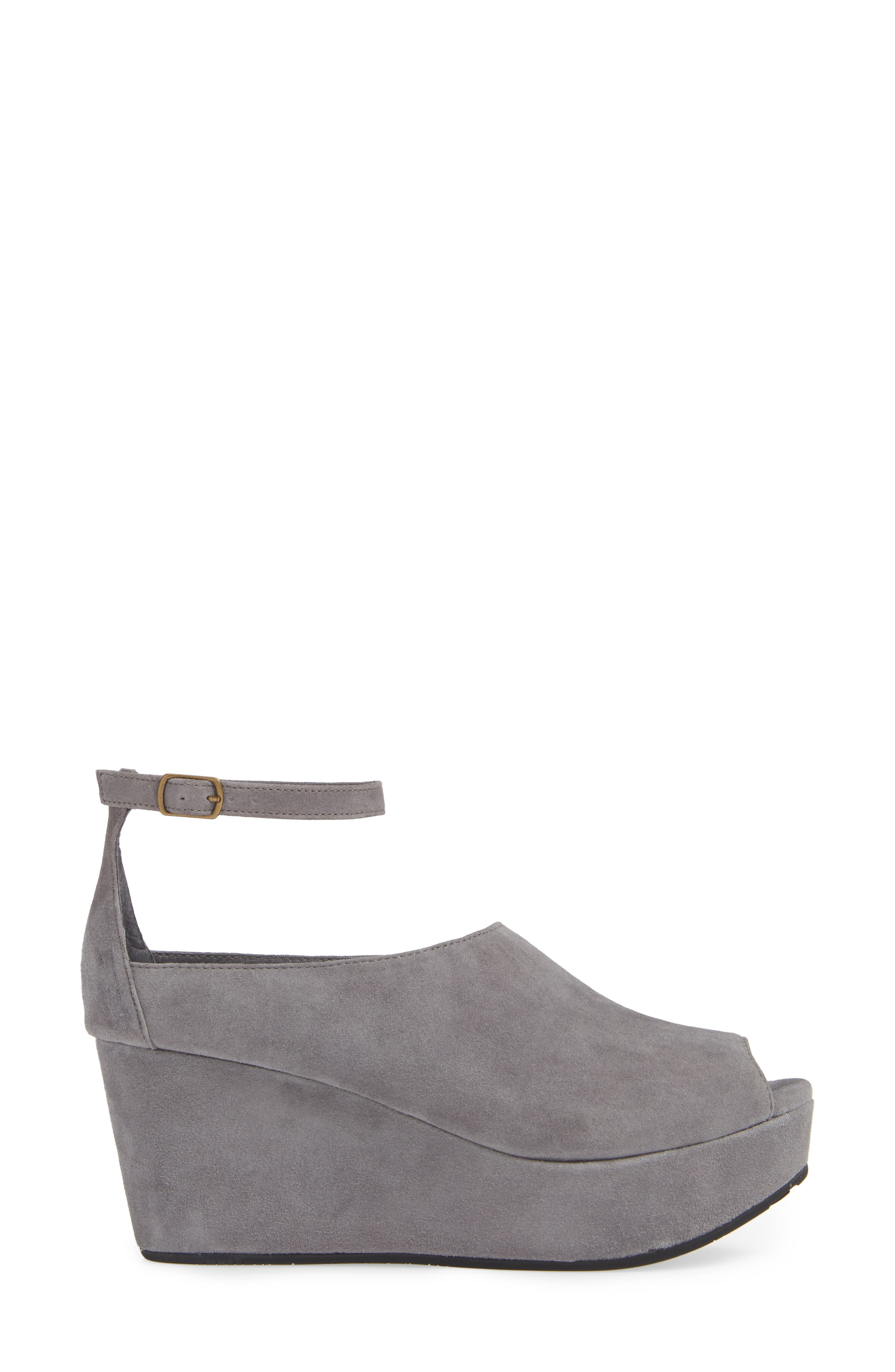 Walter Ankle Strap Wedge Sandal,                             Alternate thumbnail 3, color,                             GREY SUEDE
