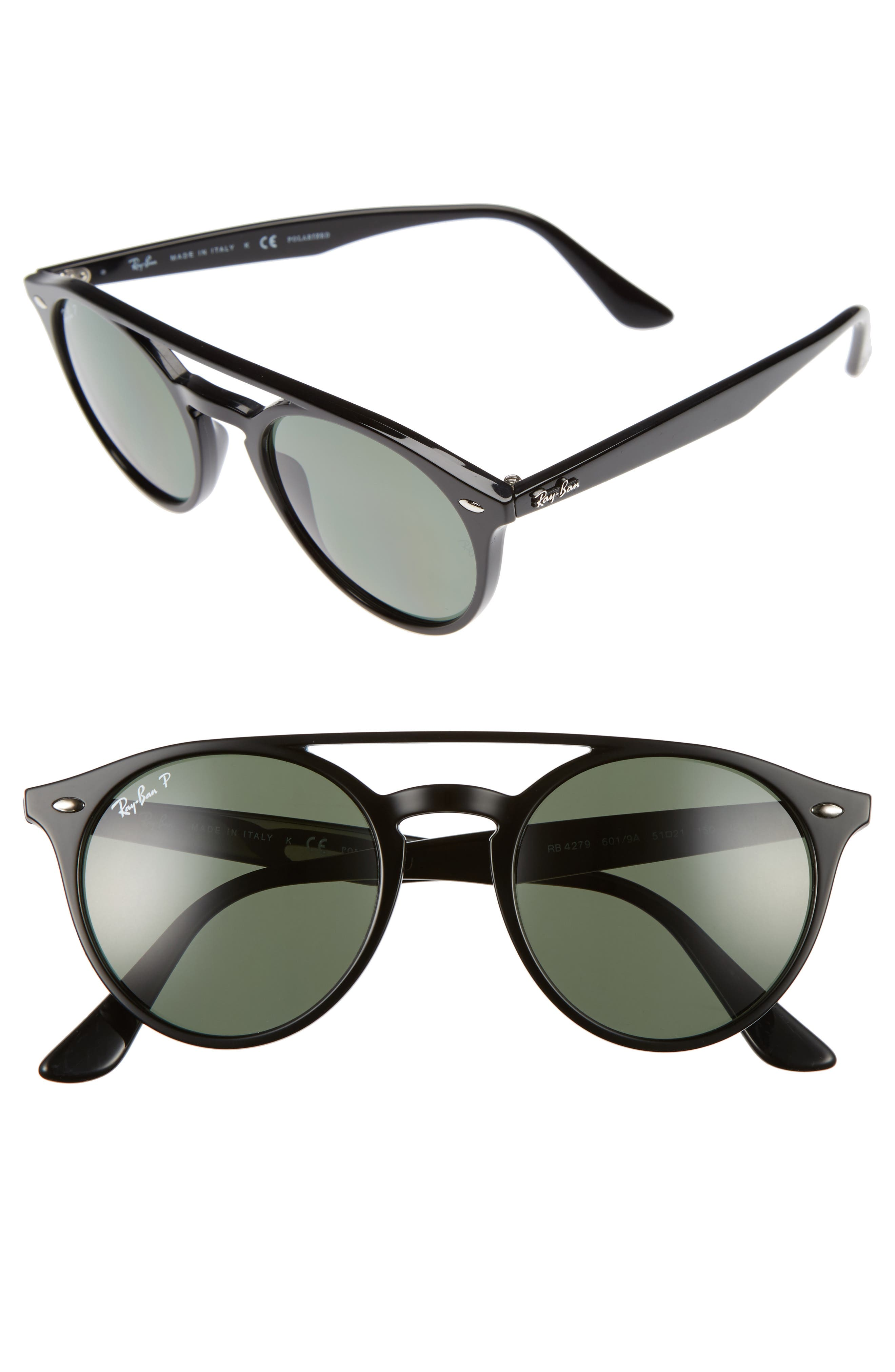 51mm Polarized Round Sunglasses,                             Main thumbnail 1, color,                             001
