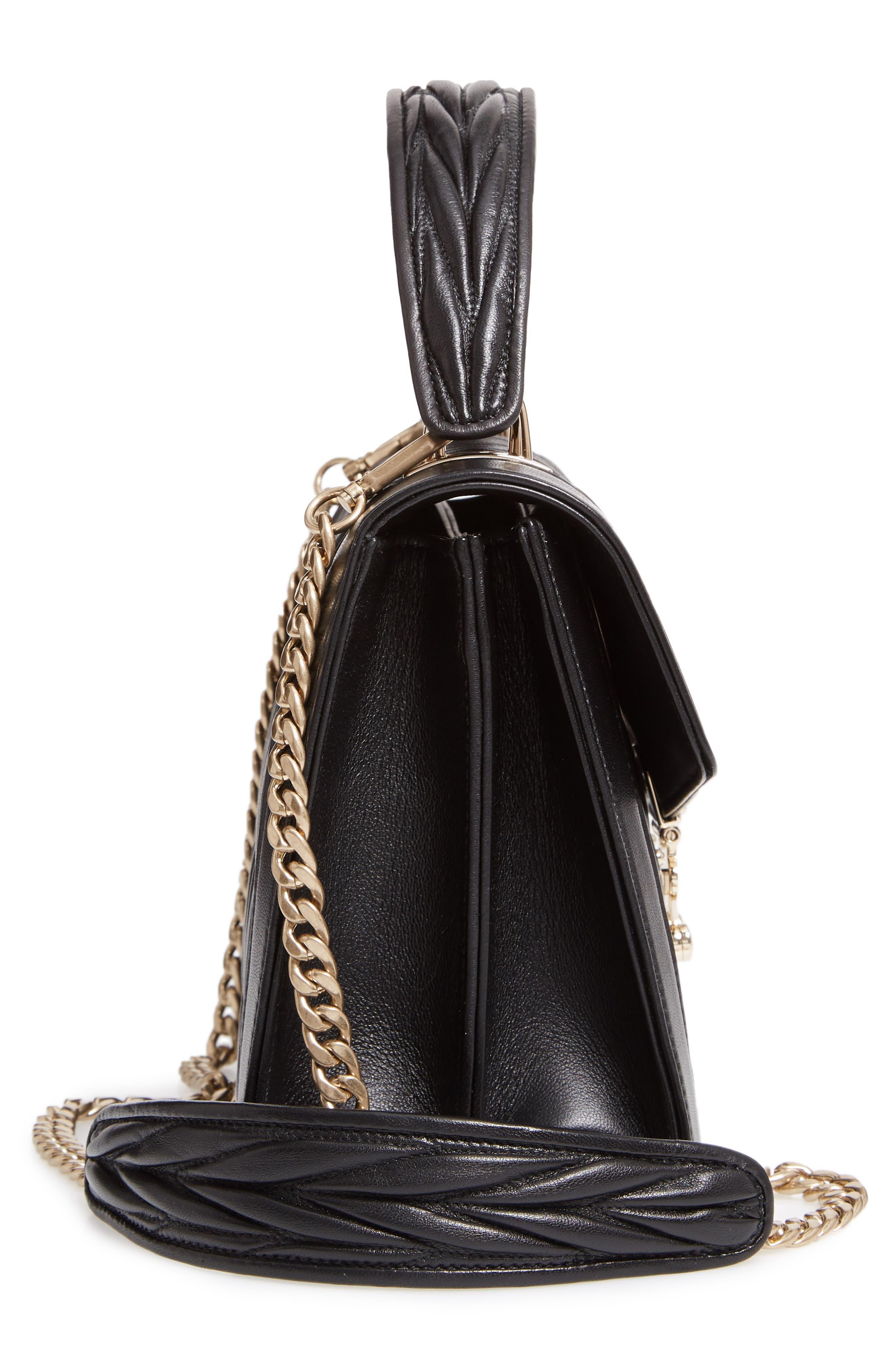 Confidential Matelassé Quilted Lambskin Leather Top Handle Bag,                             Alternate thumbnail 5, color,                             NERO