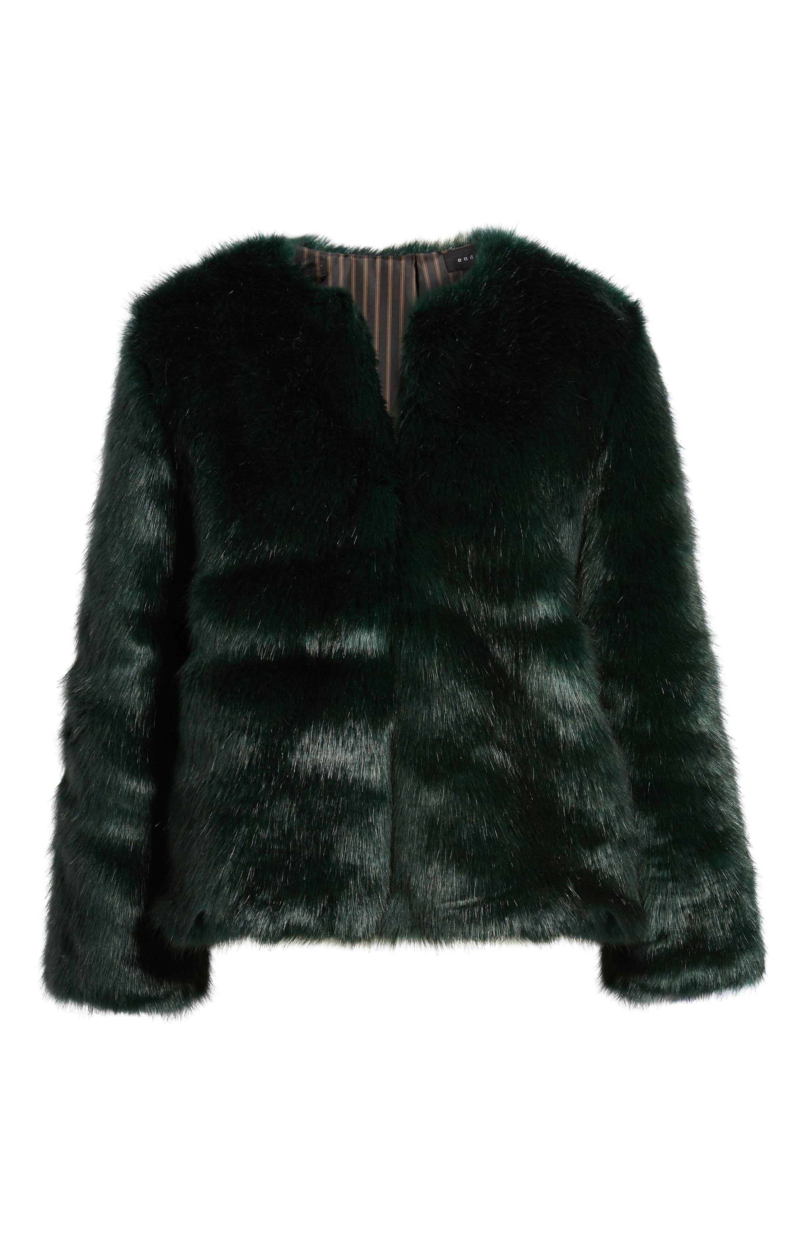 Faux Fur Jacket,                             Alternate thumbnail 6, color,                             GREEN