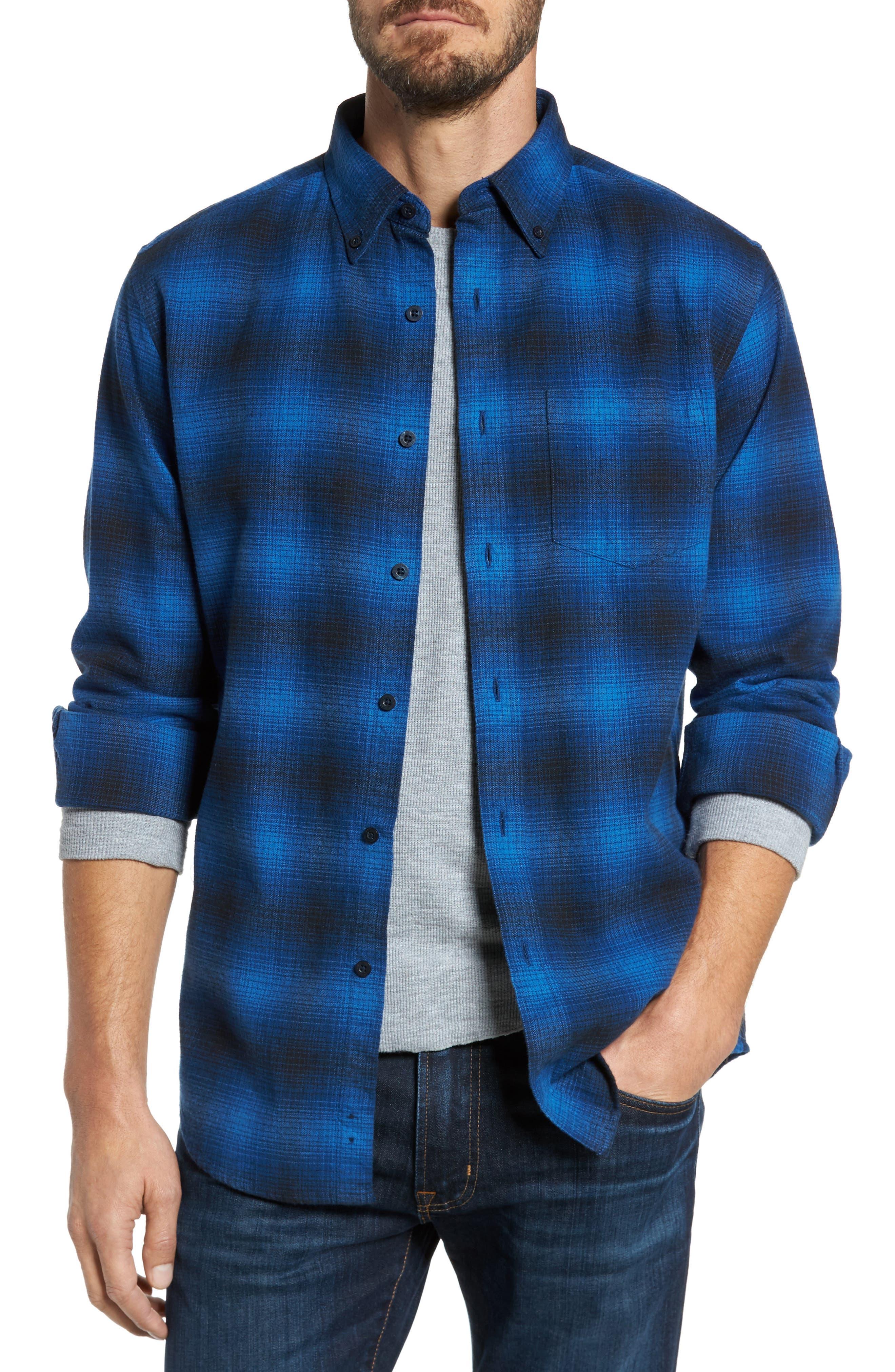 Lister Ombré Plaid Sport Shirt,                             Main thumbnail 1, color,