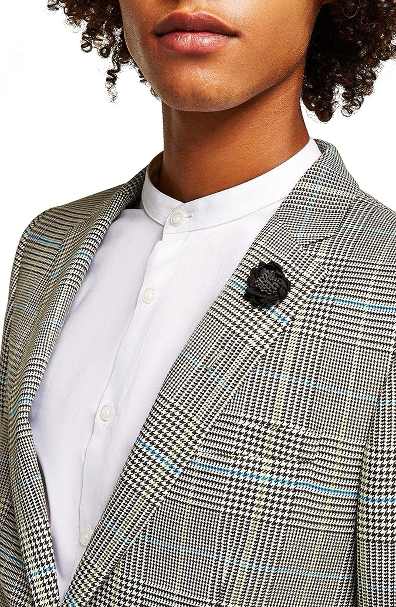 Skinny Fit Houndstooth Suit Jacket,                             Alternate thumbnail 3, color,                             GREY MULTI