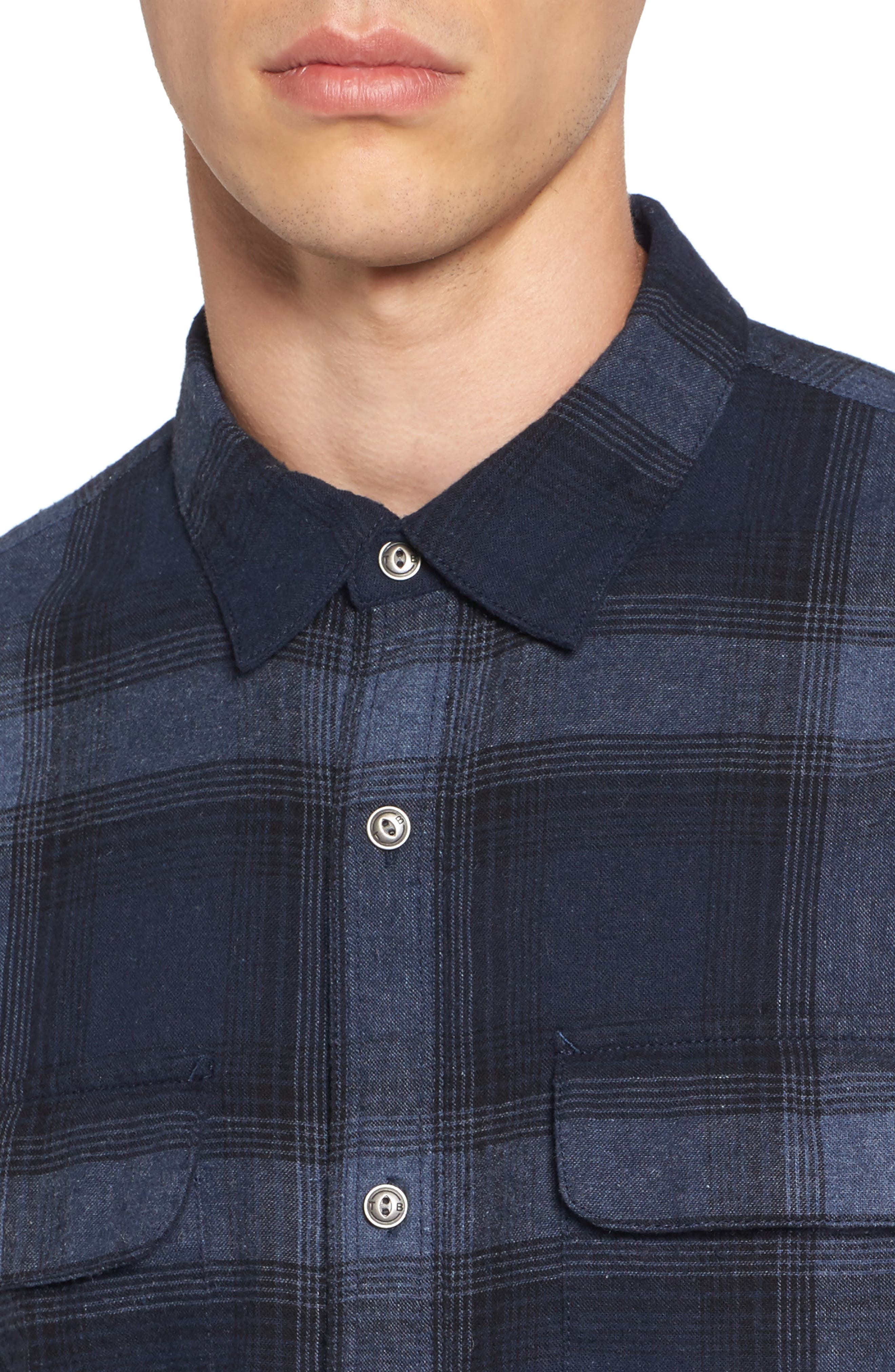 Owen Plaid Flannel Sport Shirt,                             Alternate thumbnail 4, color,                             410