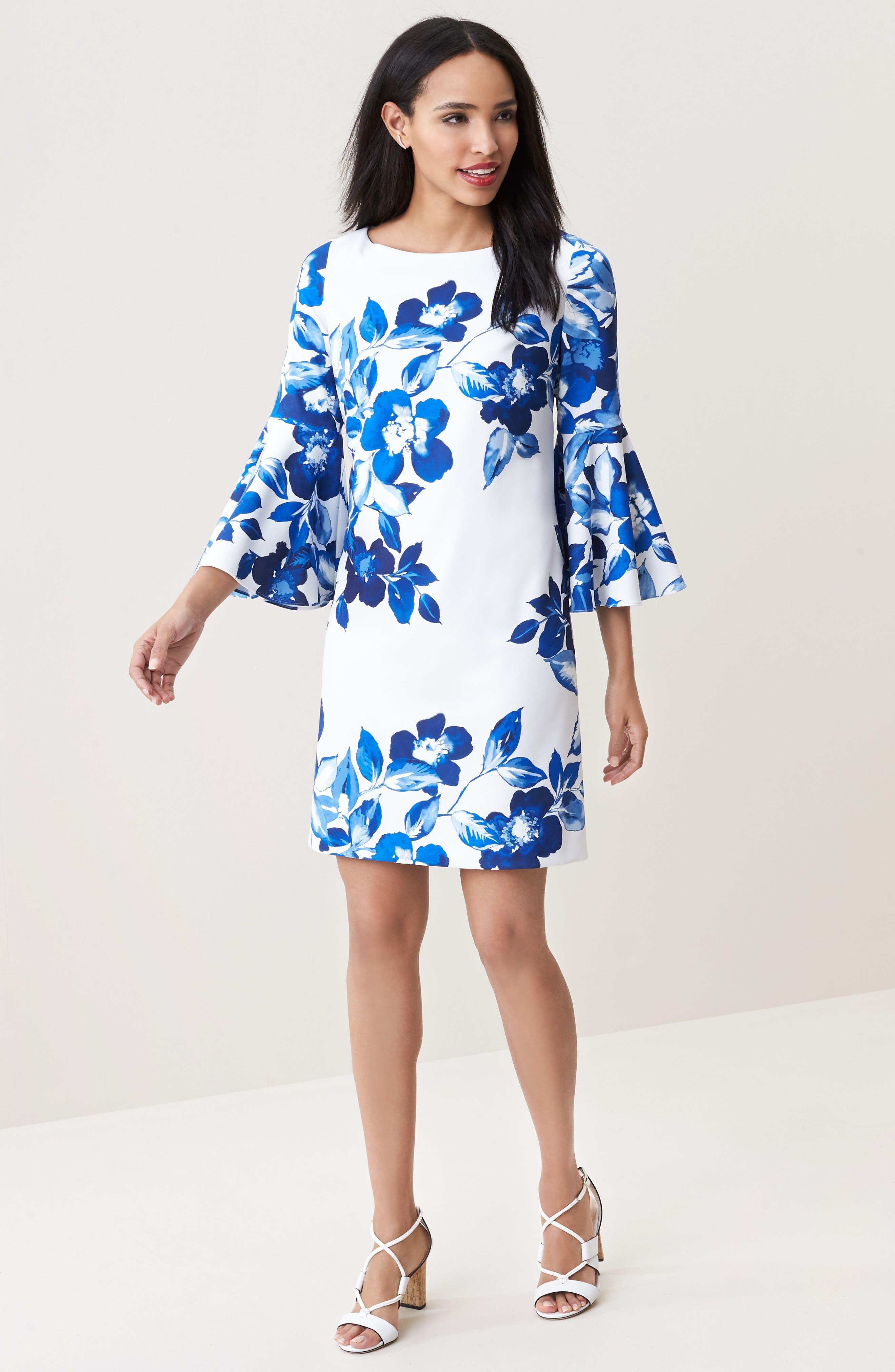 Floral Shift Dress,                             Alternate thumbnail 6, color,                             BLUE/ IVORY