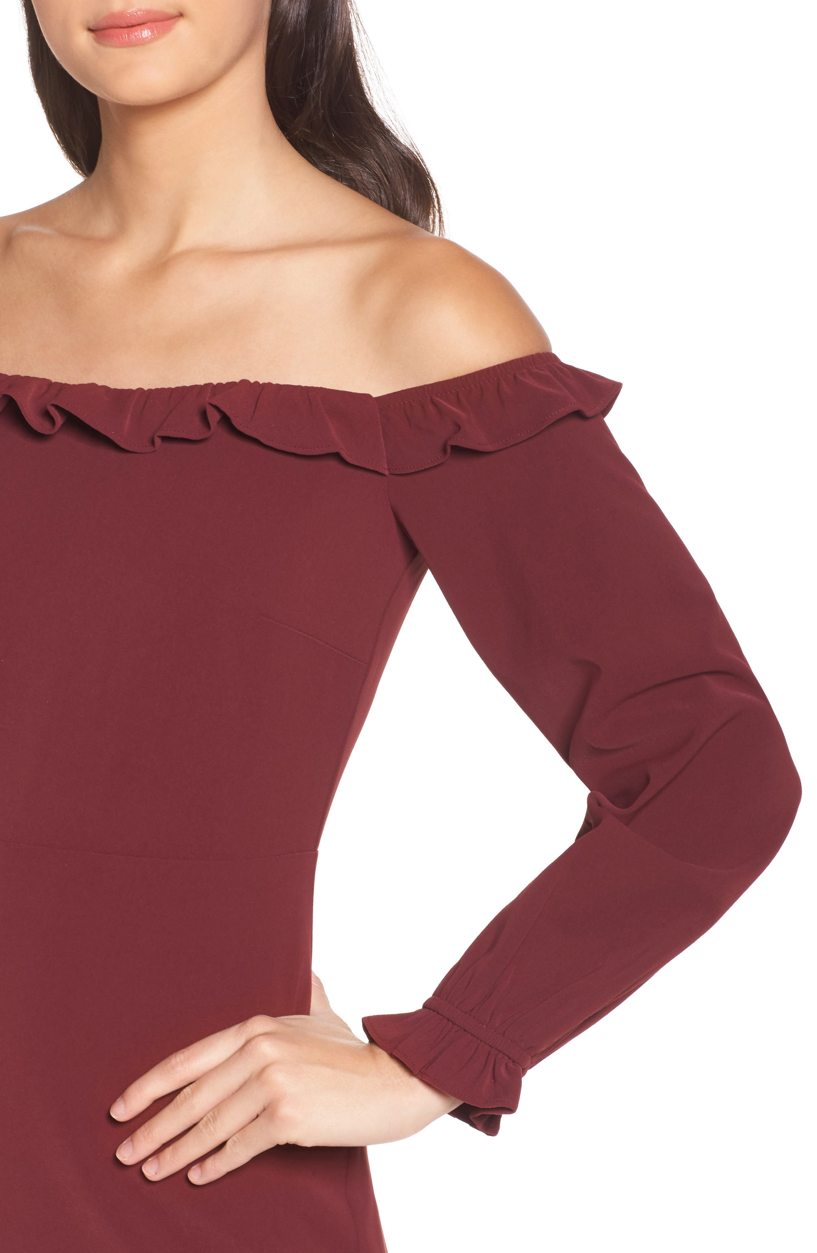 Off the Shoulder Sheath Dress,                             Alternate thumbnail 8, color,