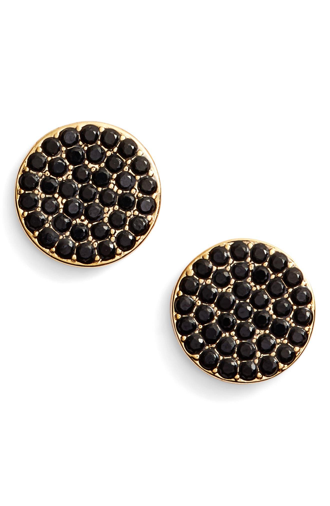 shine on stud earrings,                             Main thumbnail 1, color,                             JET