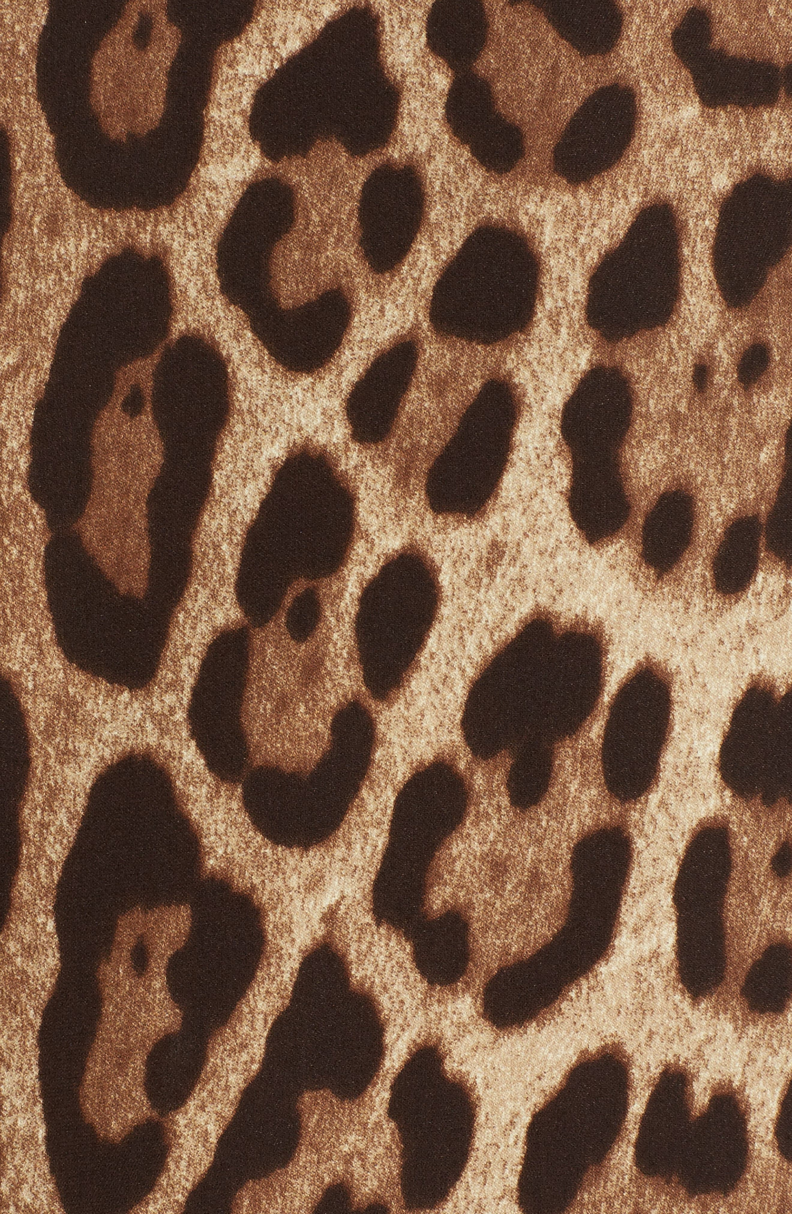 Leopard Print Stretch Silk Dress,                             Alternate thumbnail 5, color,                             200