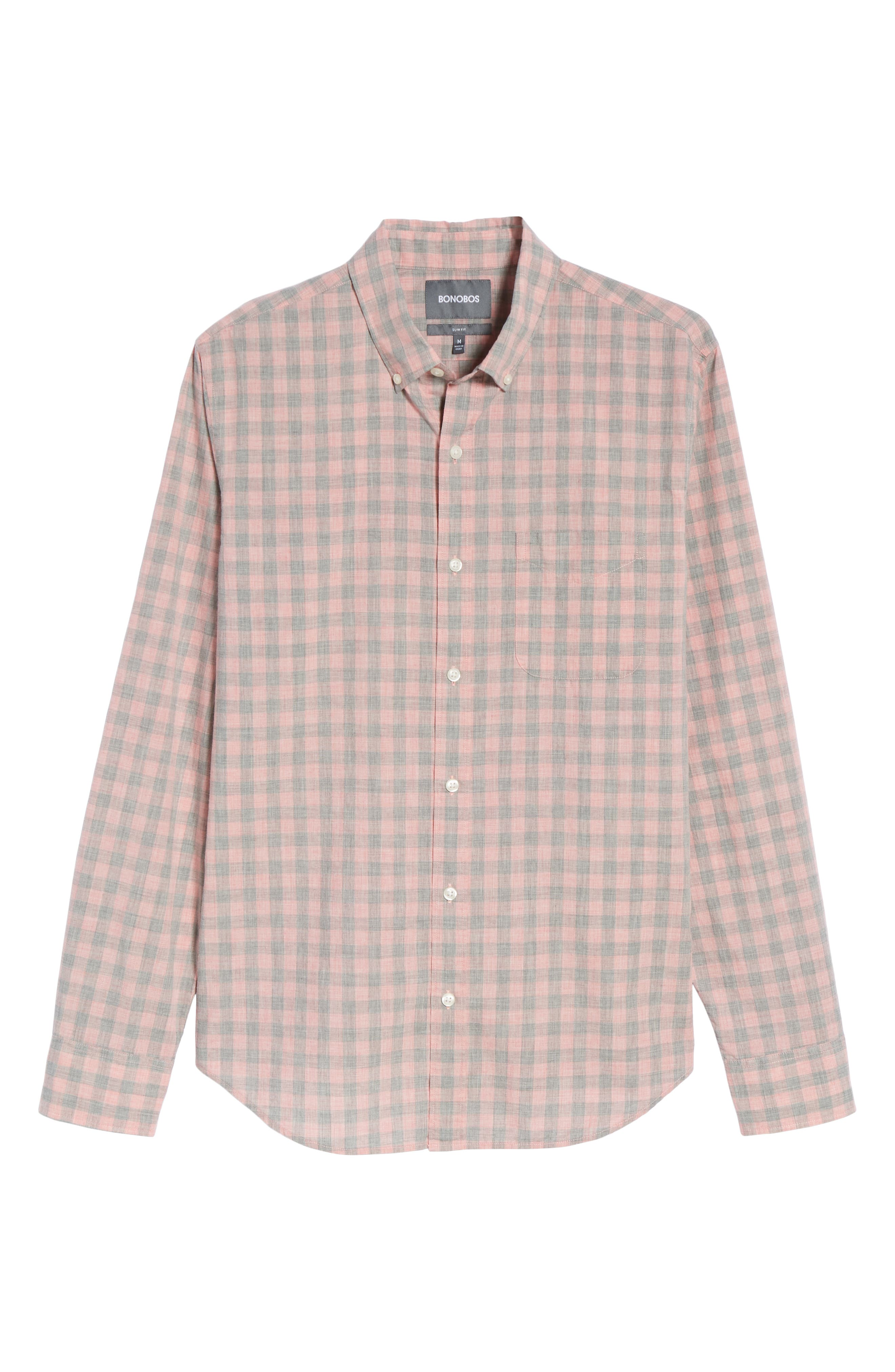 Summerweight Slim Fit Gingham Sport Shirt,                             Alternate thumbnail 6, color,                             020
