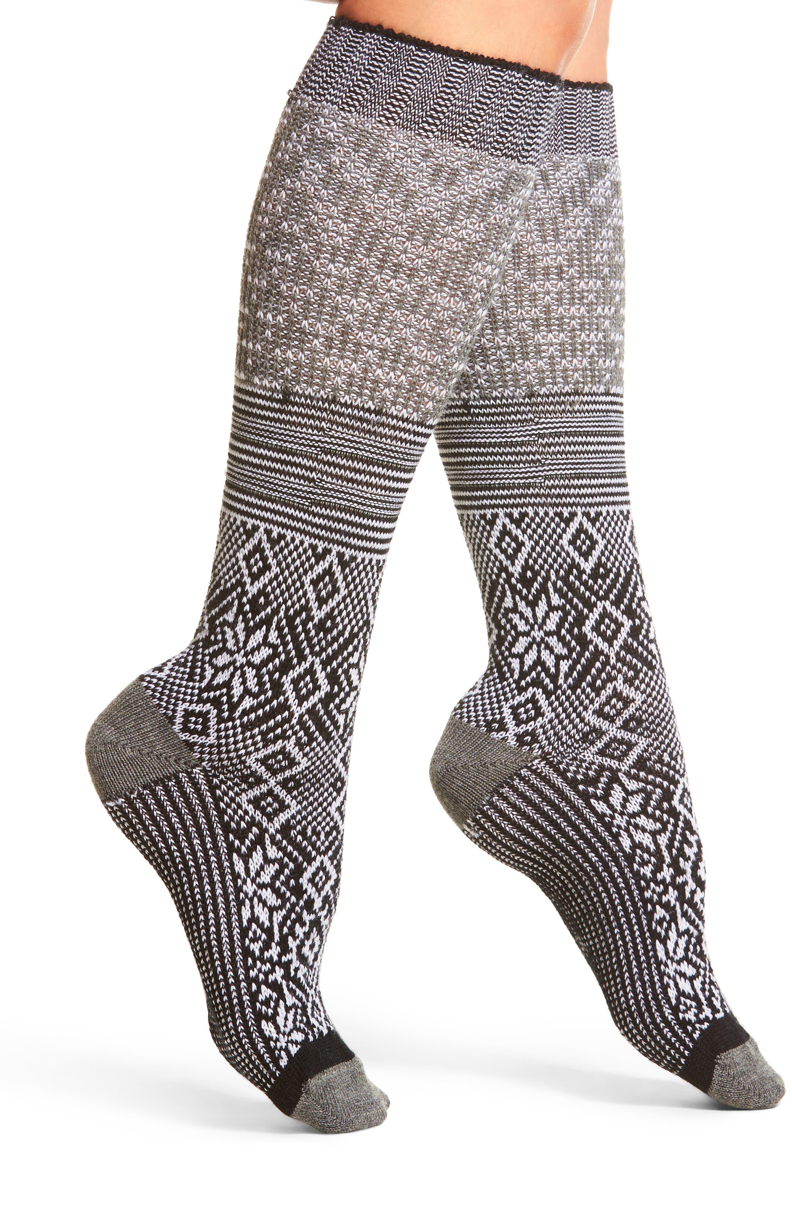 Snowflake Flurry Mid Calf Socks,                             Main thumbnail 1, color,                             BLACK