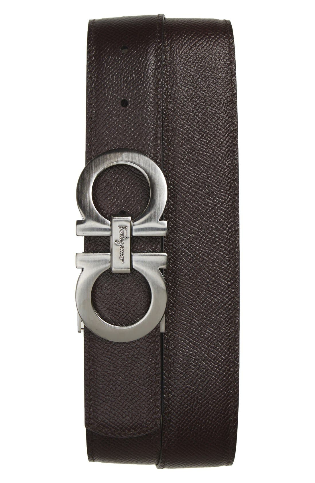 Reversible Double Gancini Calfskin Leather Belt,                             Alternate thumbnail 3, color,