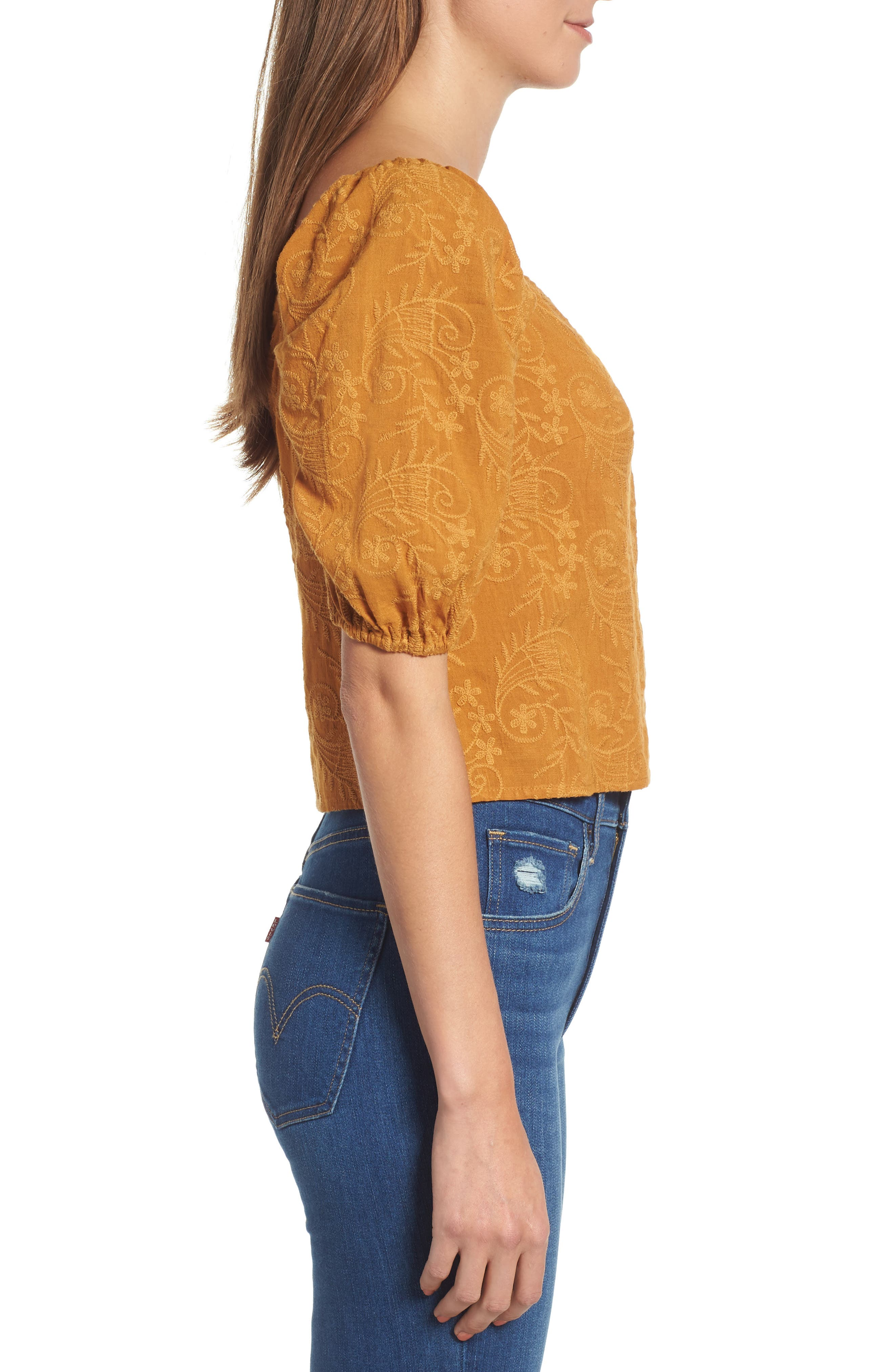 Embroidered Puff Sleeve Top,                             Alternate thumbnail 3, color,                             MAPLE