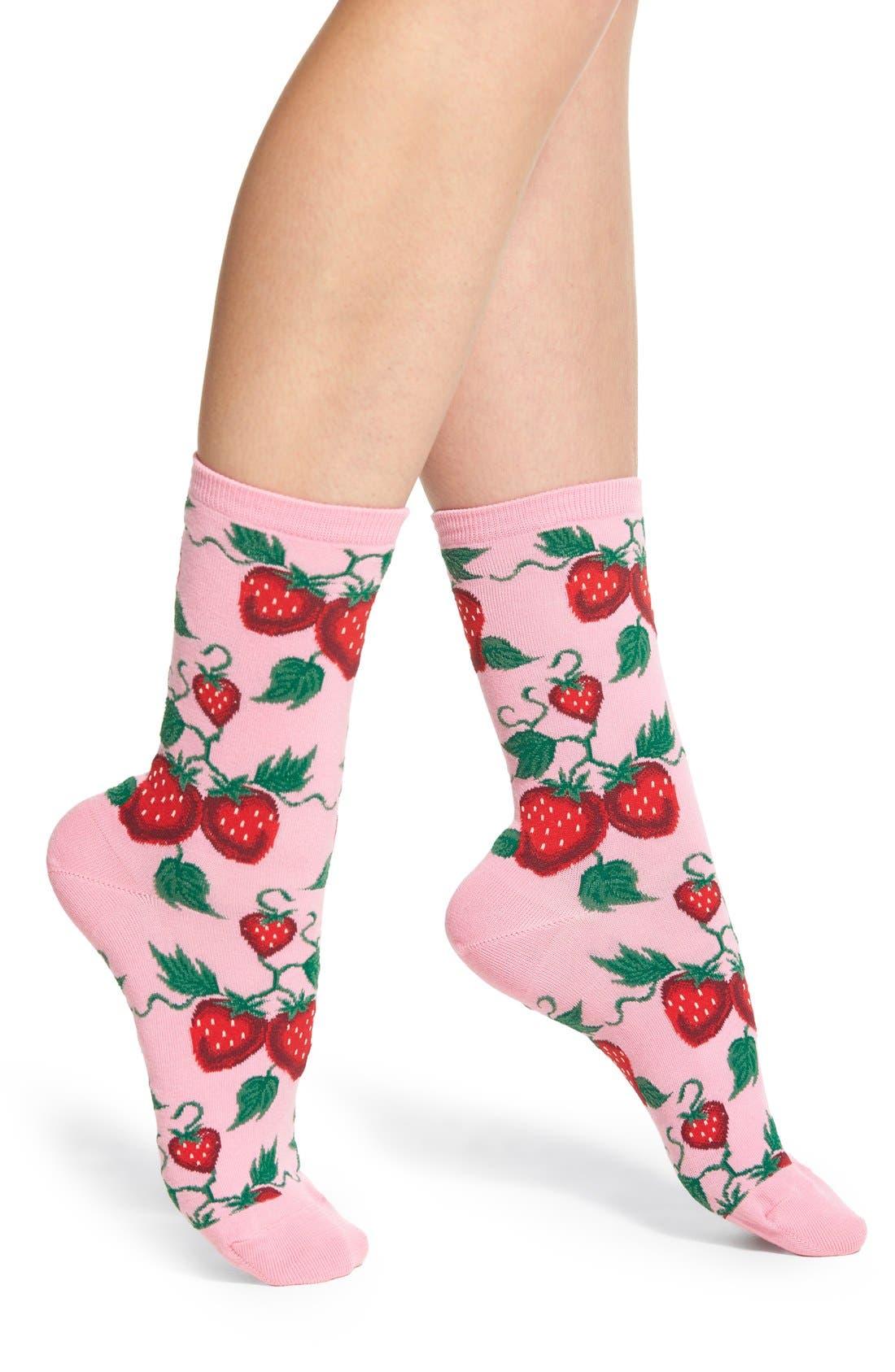 'Strawberries' Socks,                             Main thumbnail 3, color,