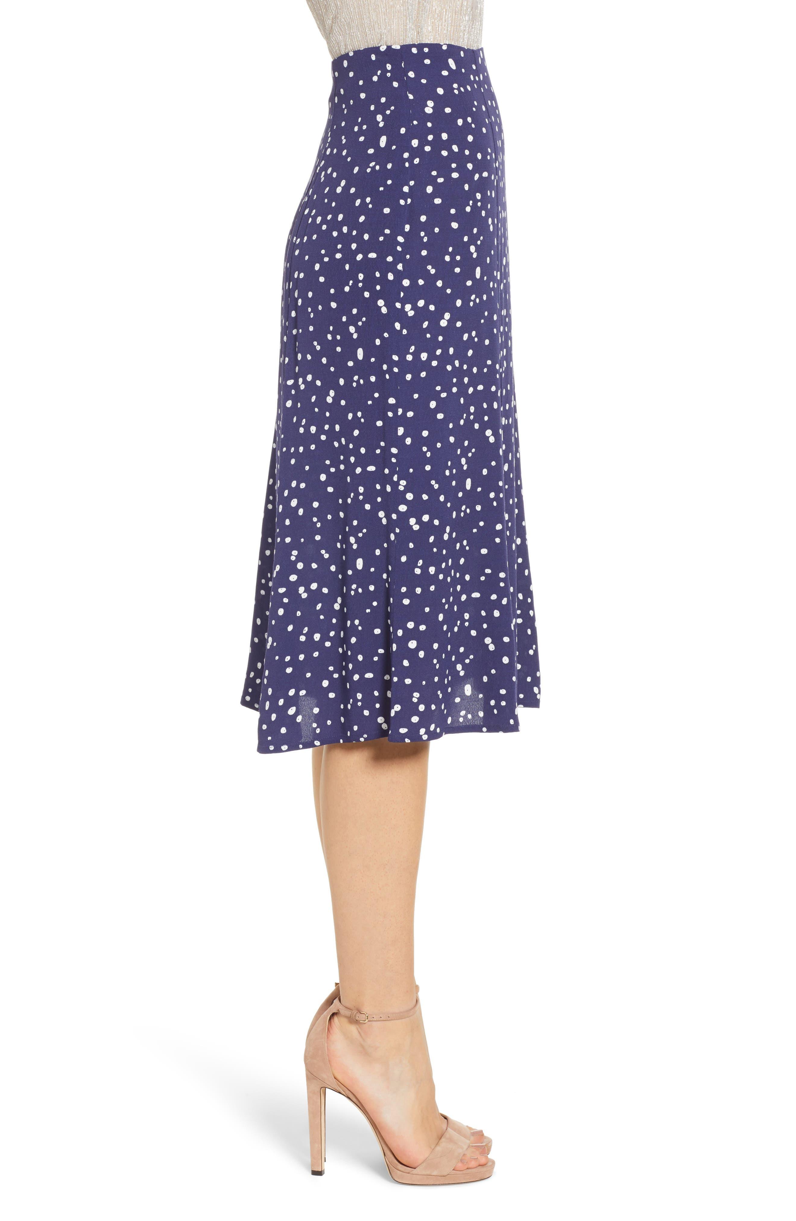 LEITH,                             High Waist Print Midi Skirt,                             Alternate thumbnail 3, color,                             NAVY PEACOAT BUTTON DOTS
