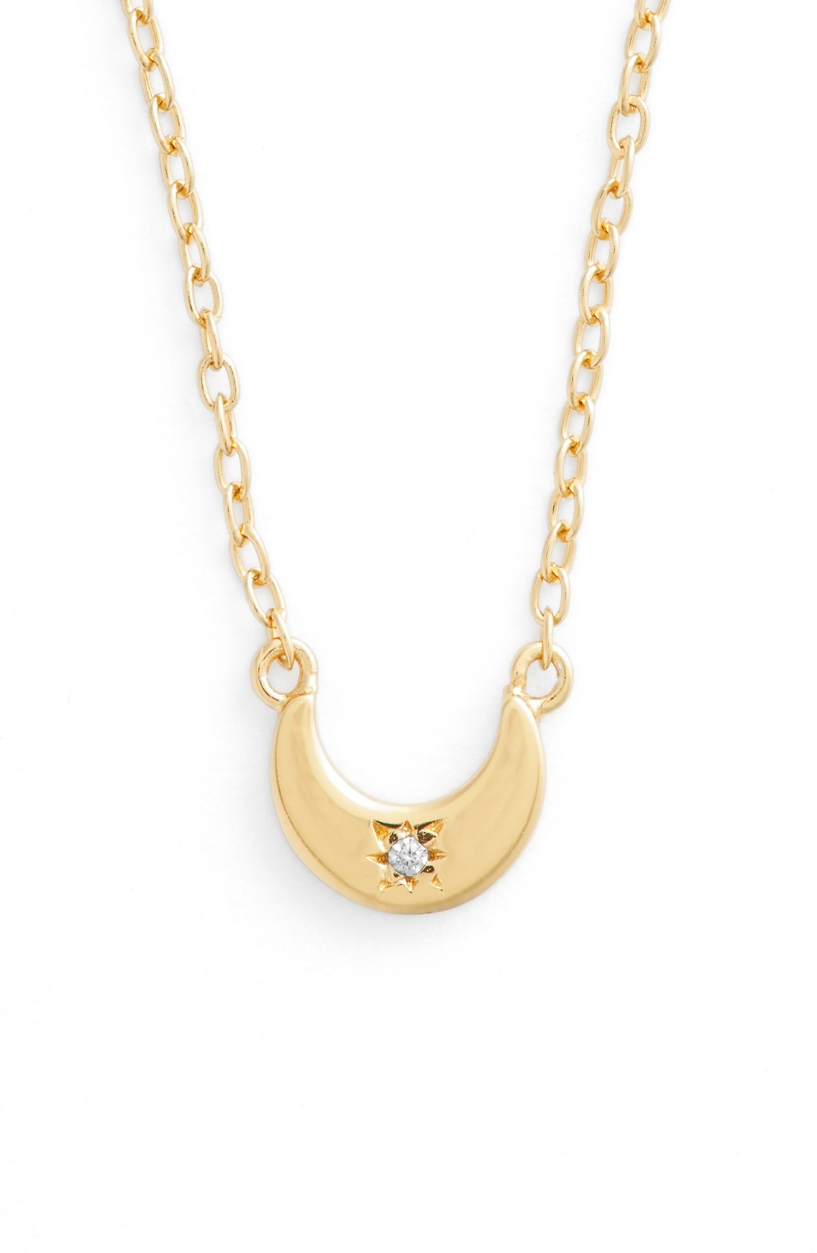 Moon Pendant Necklace,                             Main thumbnail 1, color,                             GOLD
