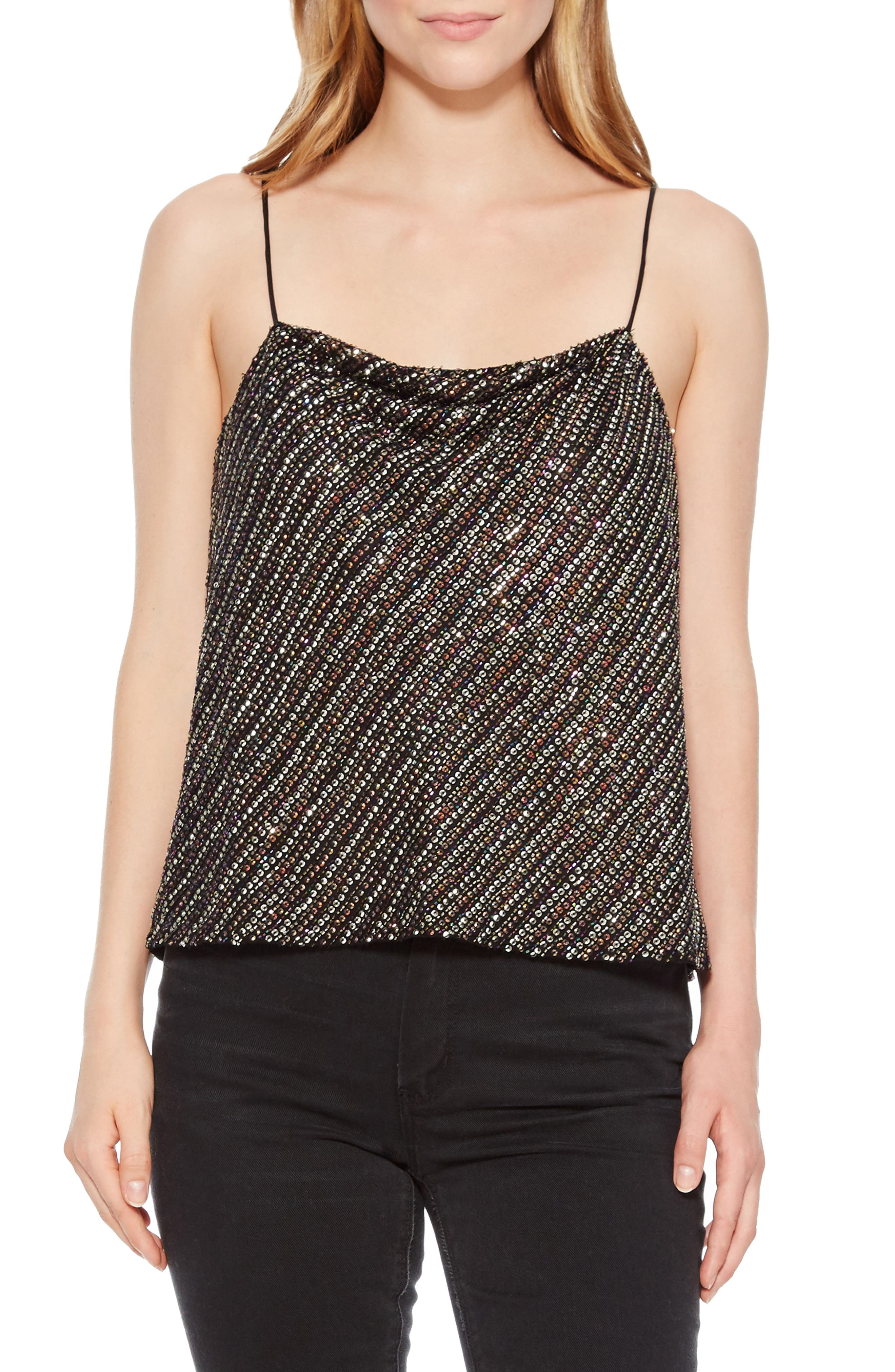 Cowl Neck Beaded Camisole,                             Main thumbnail 1, color,                             015