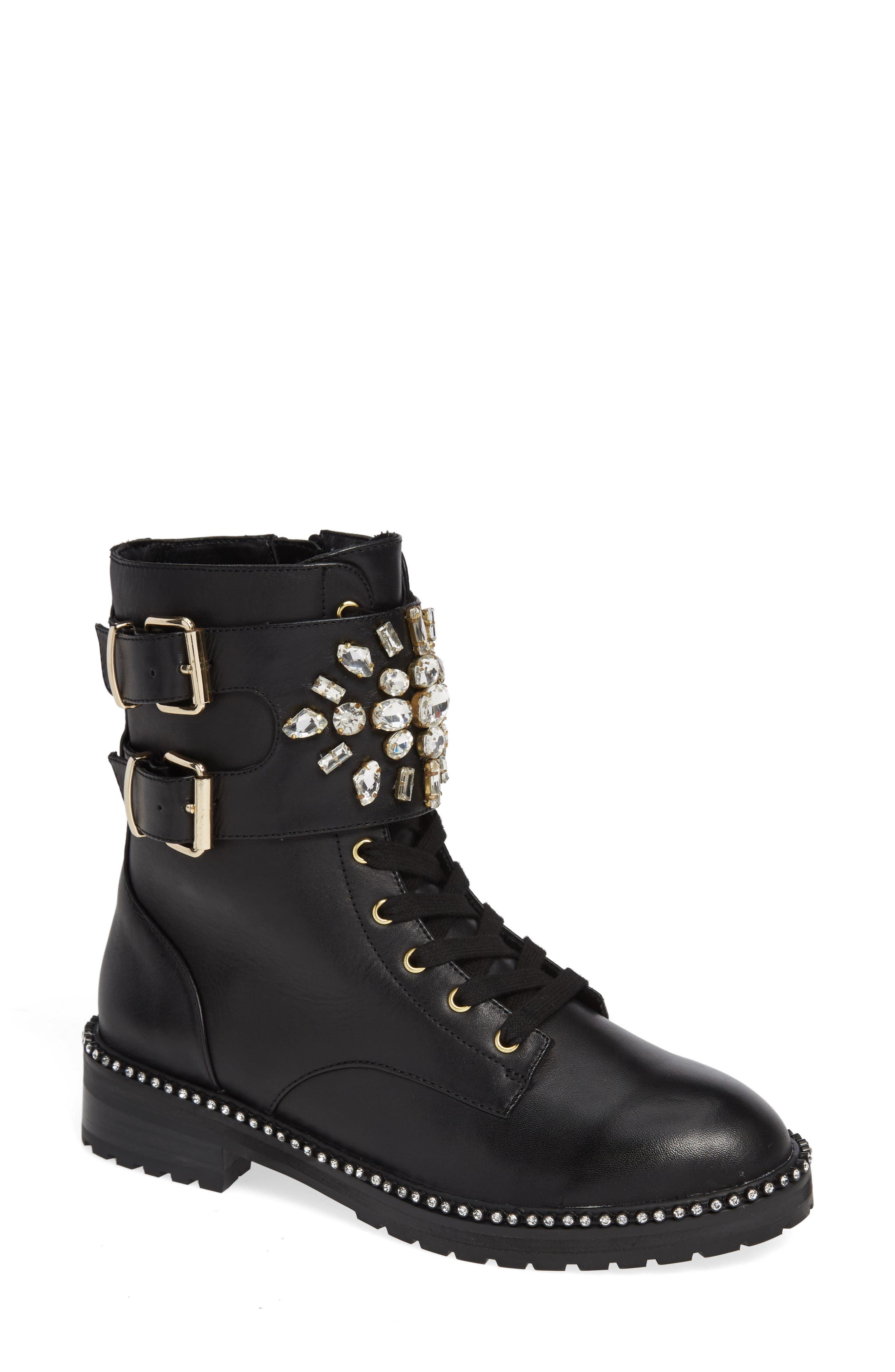 KURT GEIGER Women'S Stoop Embellished Boots in Black Leather