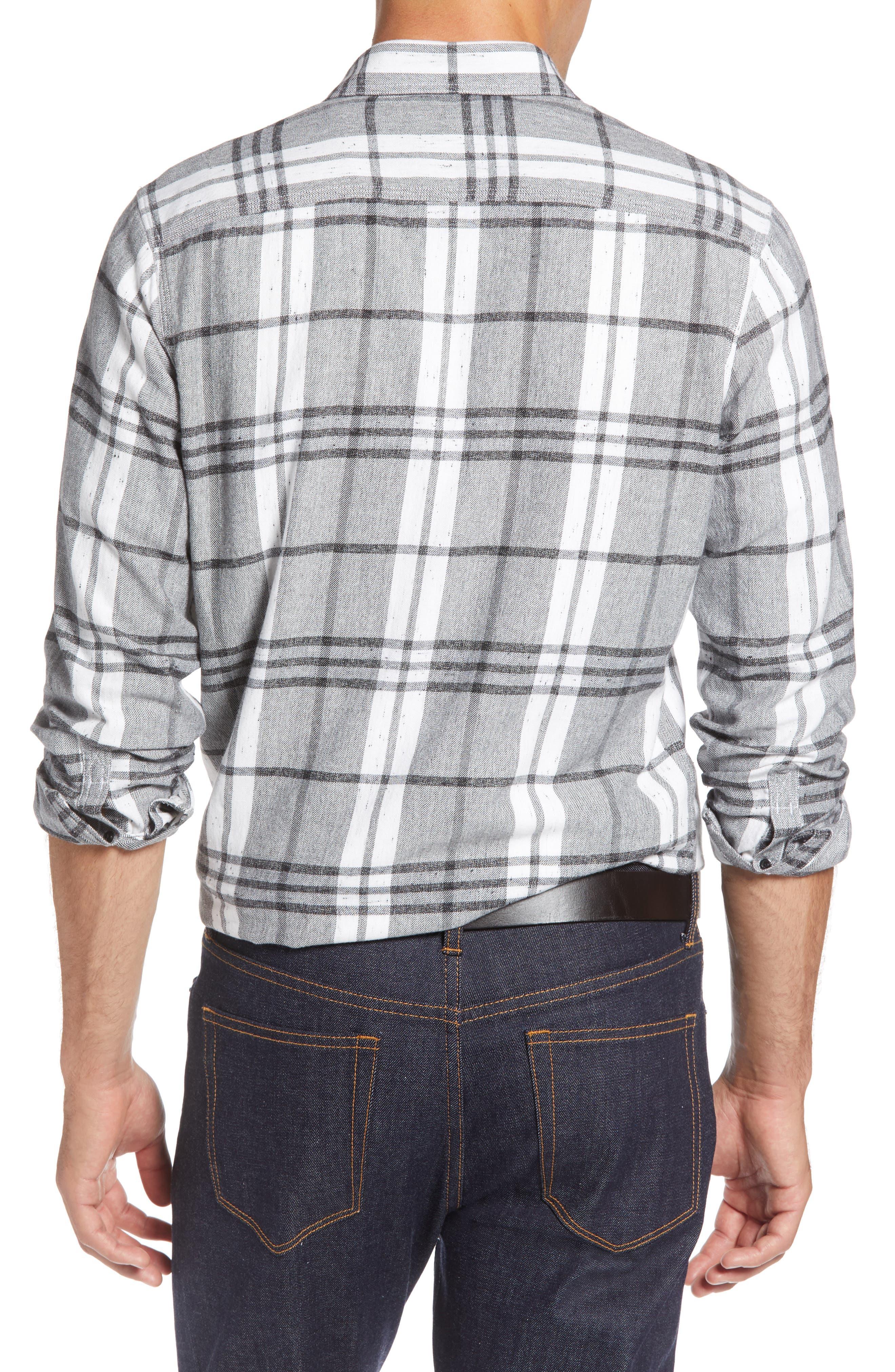 Trim Fit Brushed Plaid Utility Shirt,                             Alternate thumbnail 3, color,                             GREY CASTLEROCK NEP PLAID