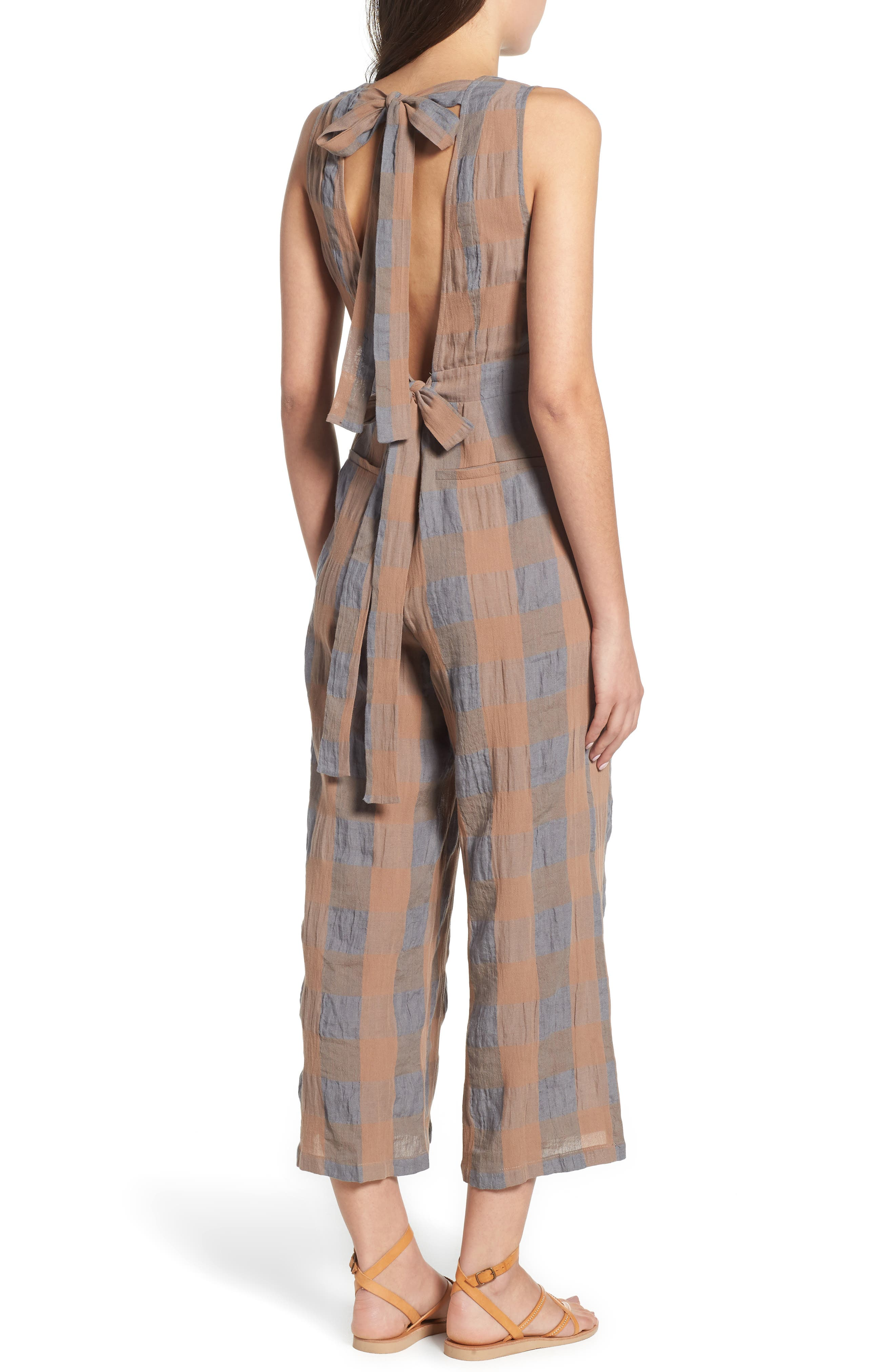 Frankie Check Linen Blend Jumpsuit,                             Alternate thumbnail 2, color,                             SMOKE AND BISCUIT