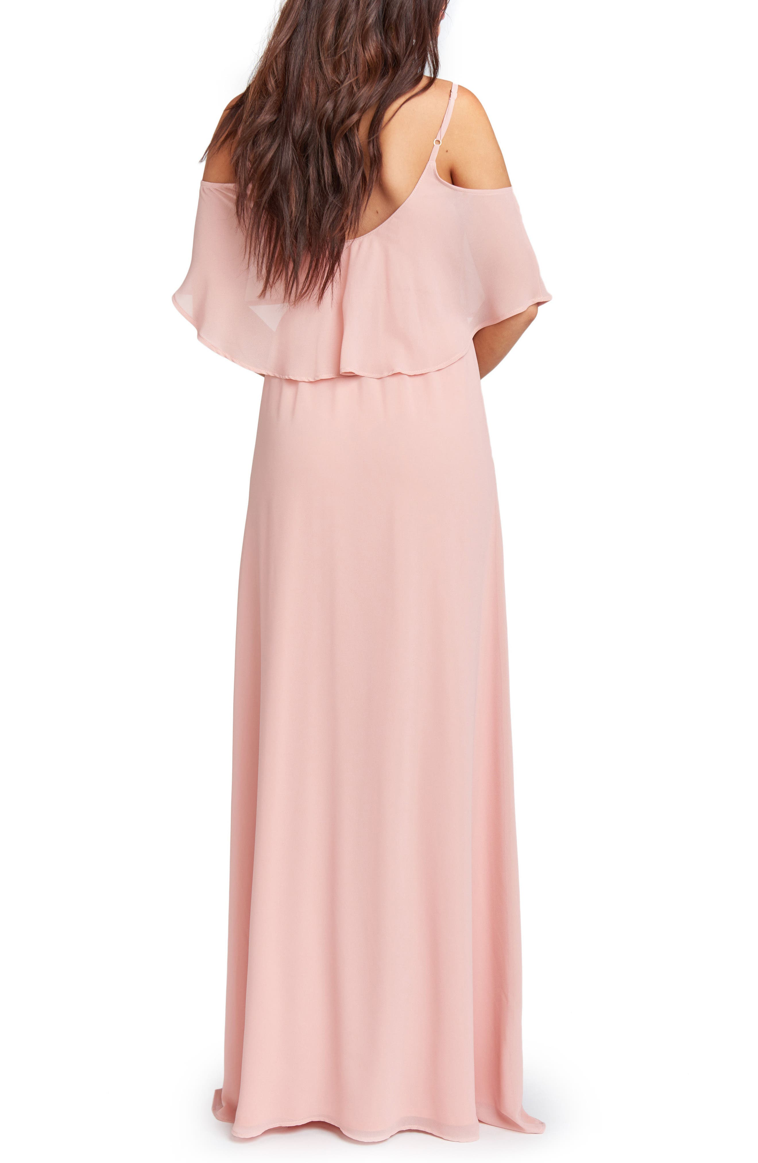 Caitlin Cold Shoulder Chiffon Gown,                             Alternate thumbnail 2, color,                             ROSEBUD CHIFFON