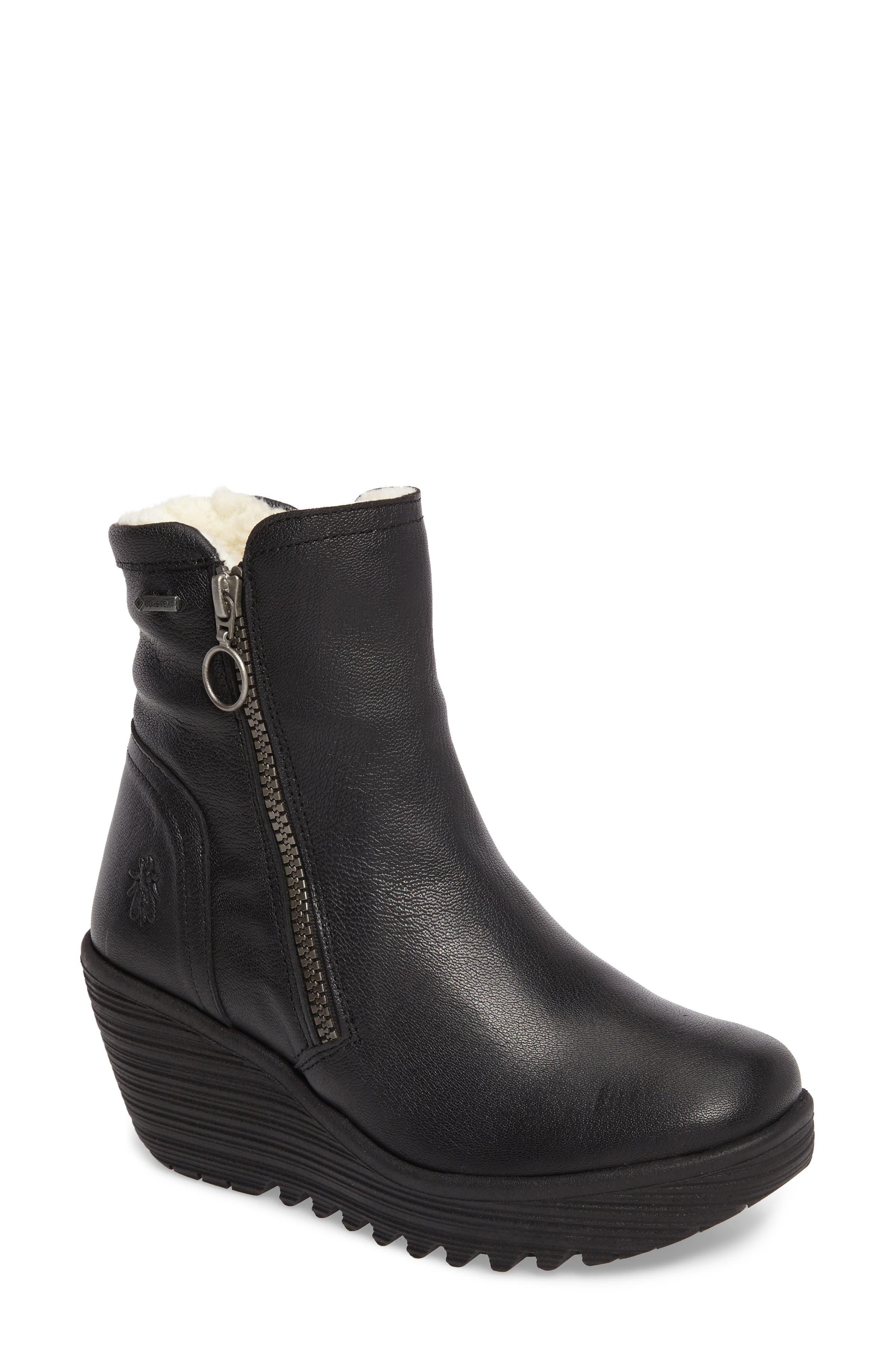Waterproof Gore-Tex<sup>®</sup> Wedge Boot,                         Main,                         color, 001