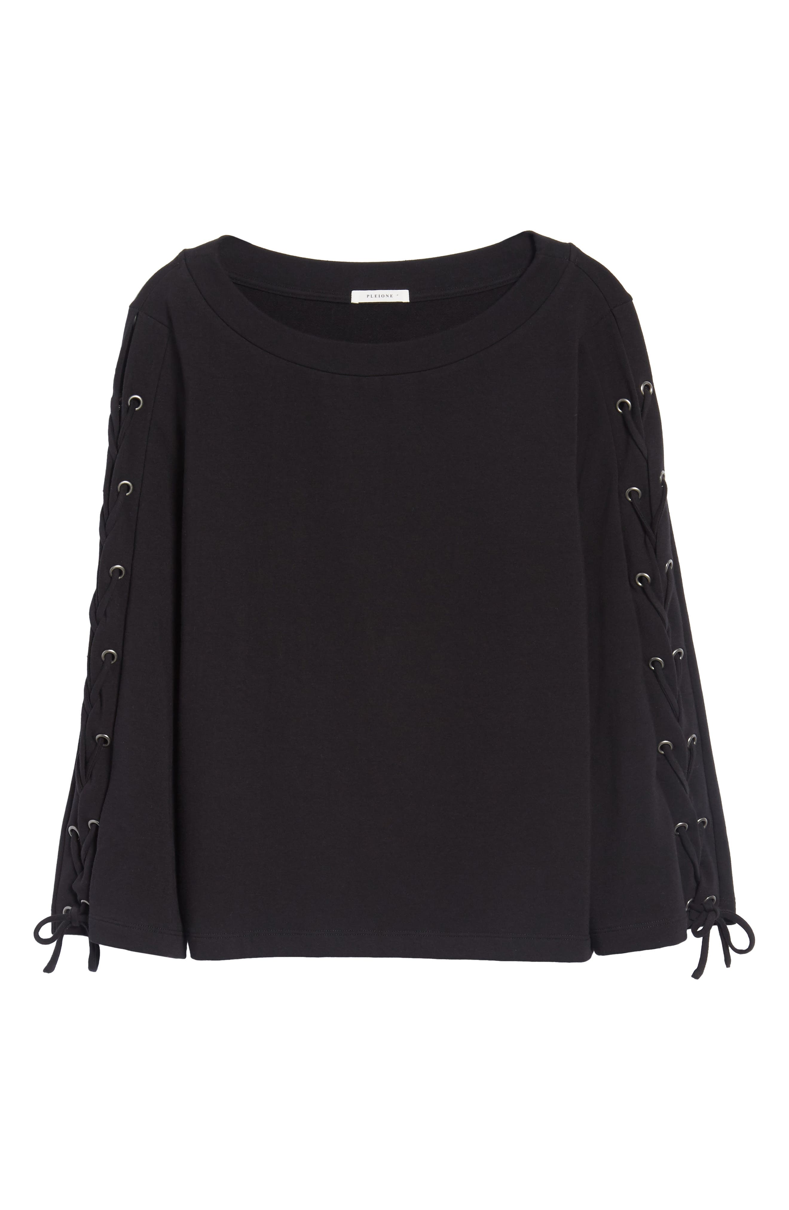 Wide Neck Lace-Up Sleeve Top,                             Alternate thumbnail 6, color,                             001