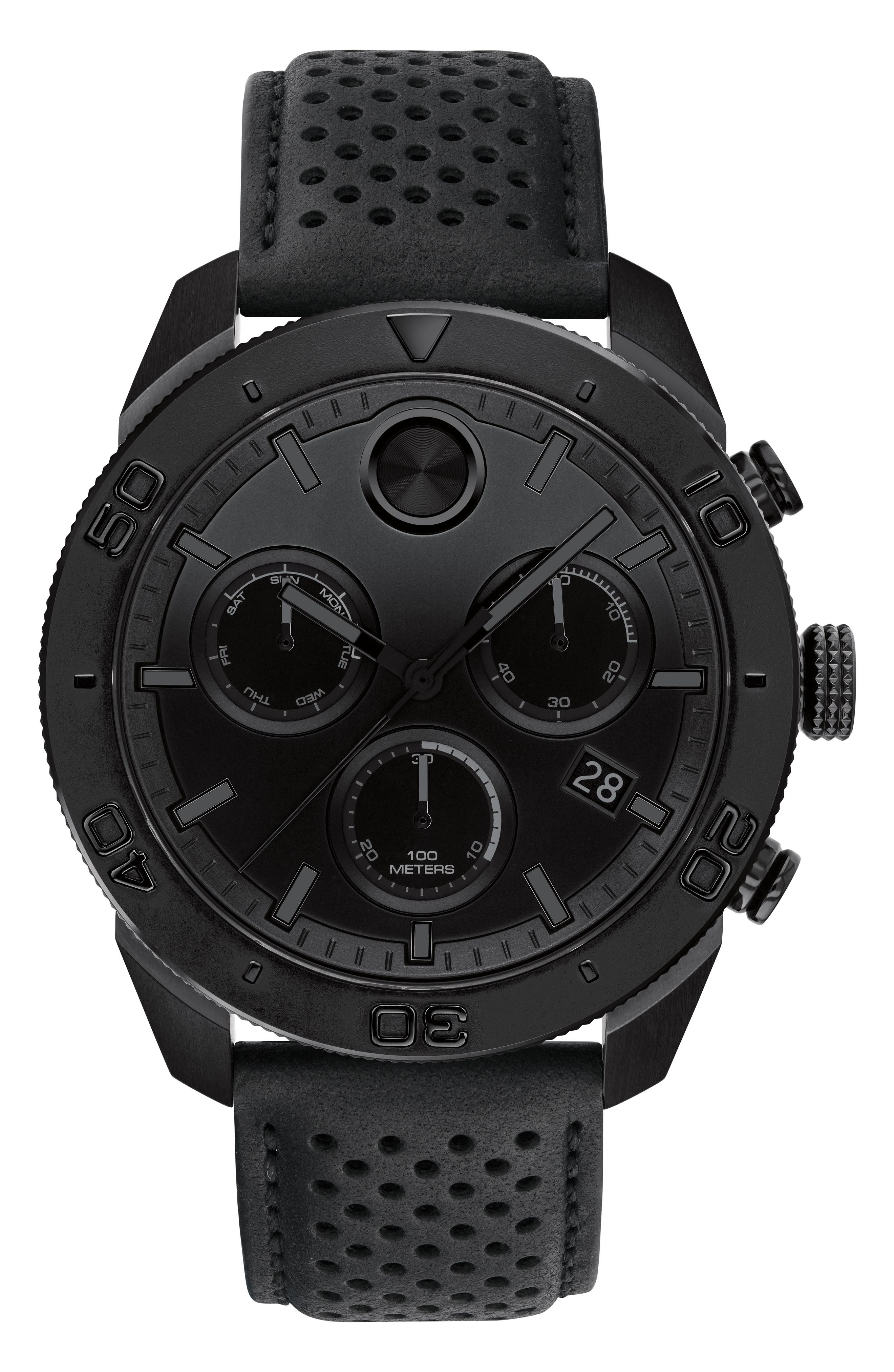 Bold Sport Chronograph Leather Strap Watch, 44mm,                         Main,                         color, BLACK