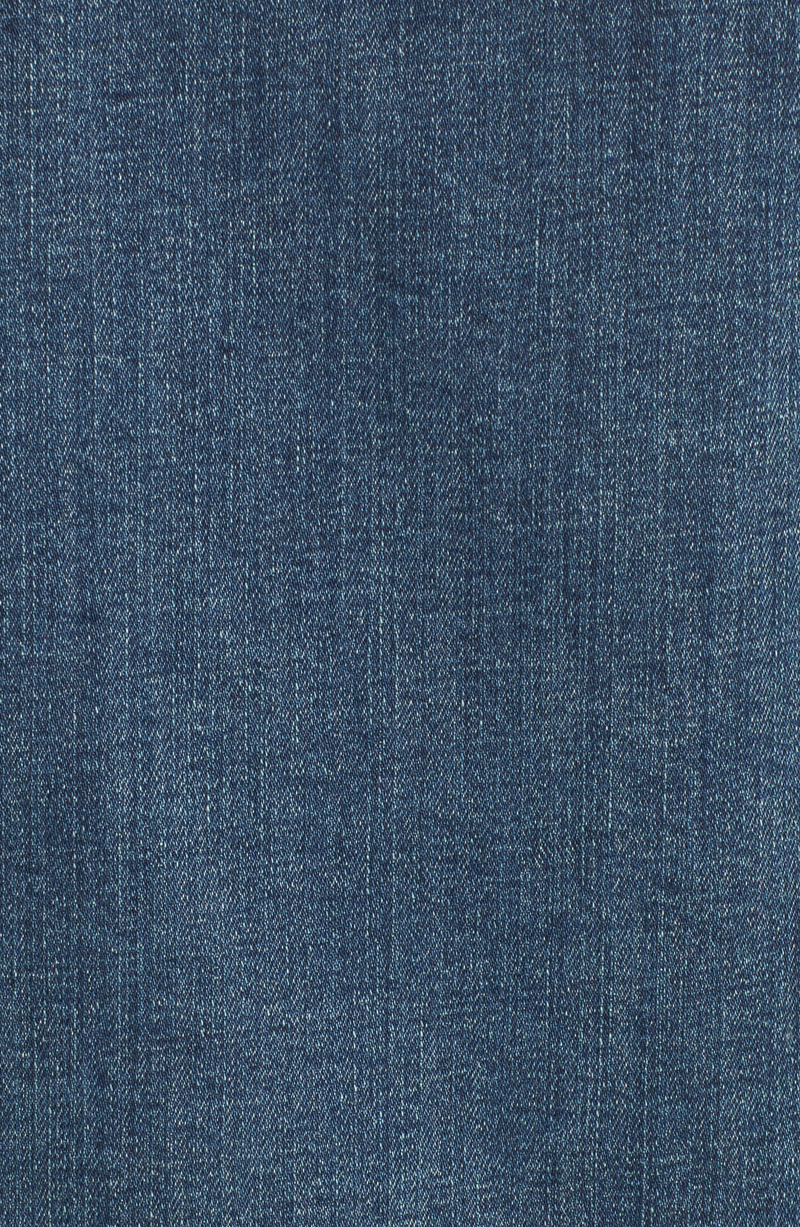 Faux Shearling Collar Denim Jacket,                             Alternate thumbnail 5, color,                             420
