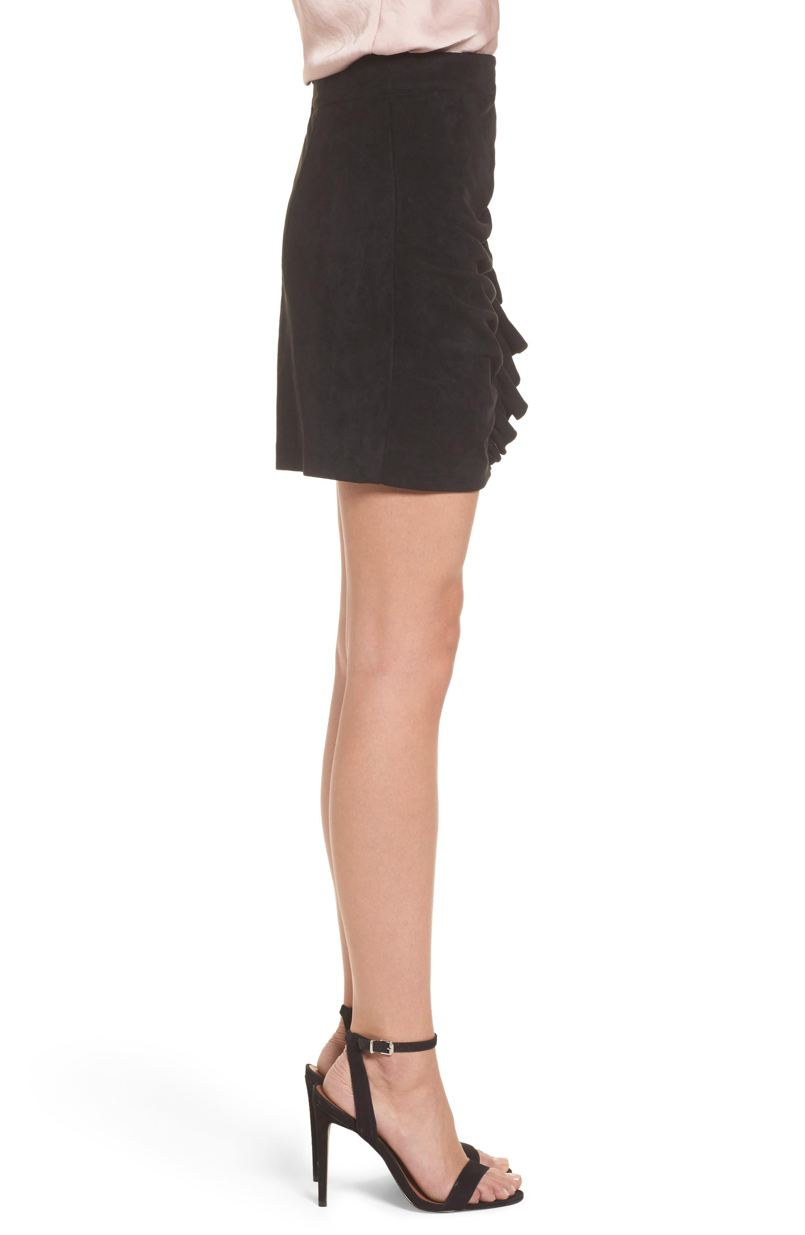 Mabel Ruched Miniskirt,                             Alternate thumbnail 3, color,                             001