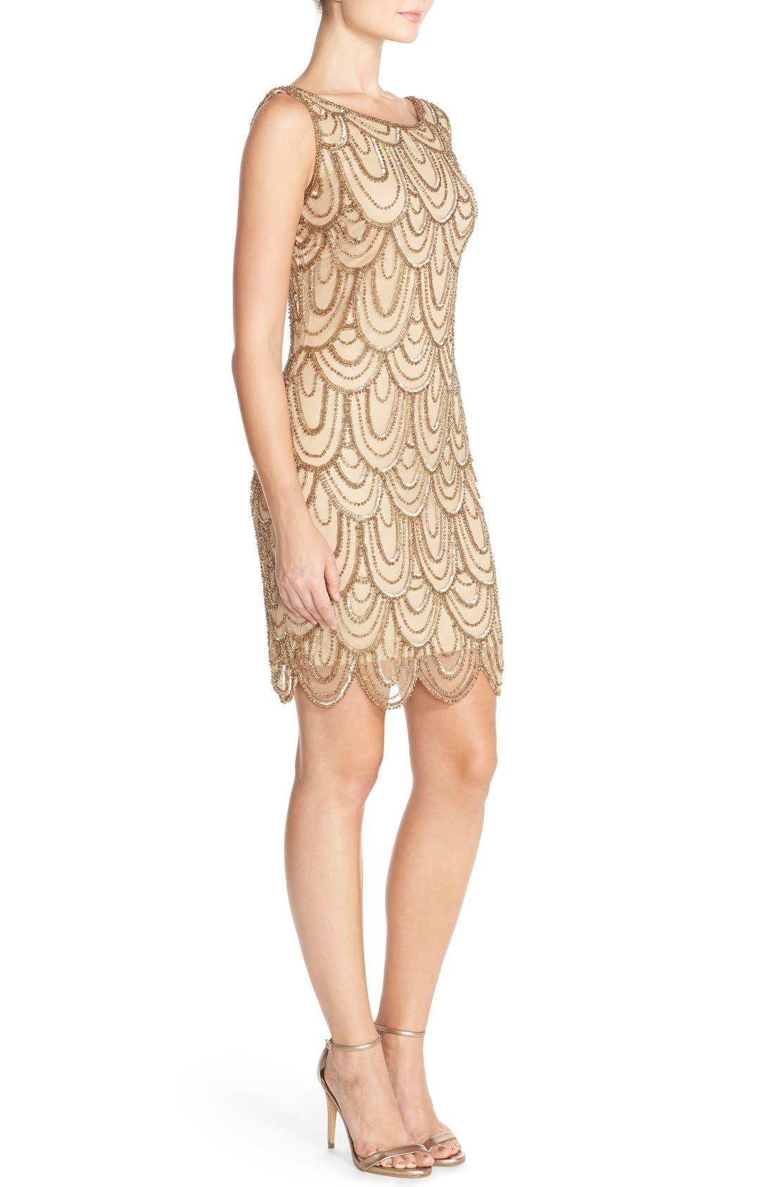 Embellished Mesh Sheath Dress,                             Alternate thumbnail 108, color,