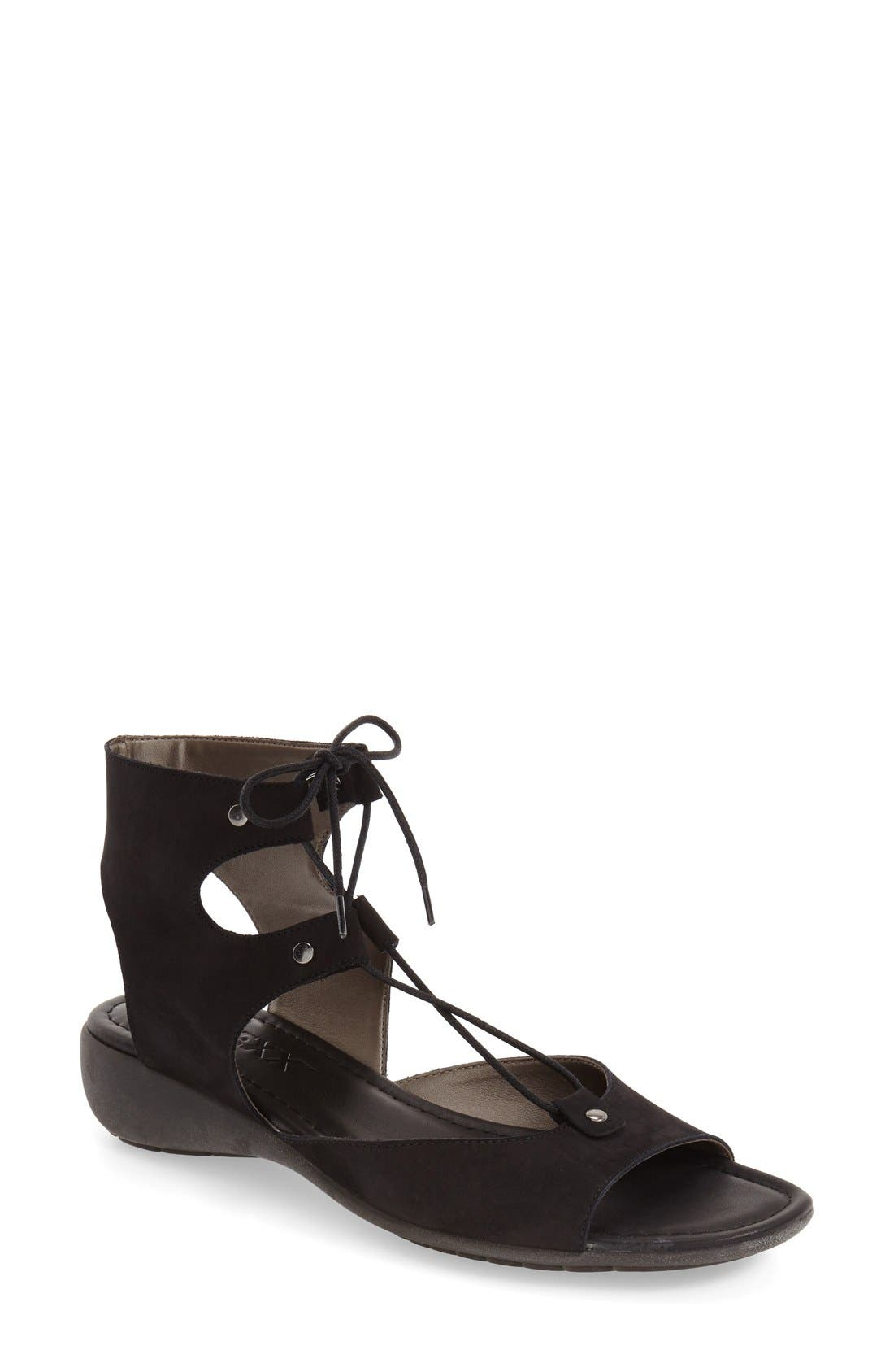 Lace-Up Gladiator Sandal,                         Main,                         color, 001
