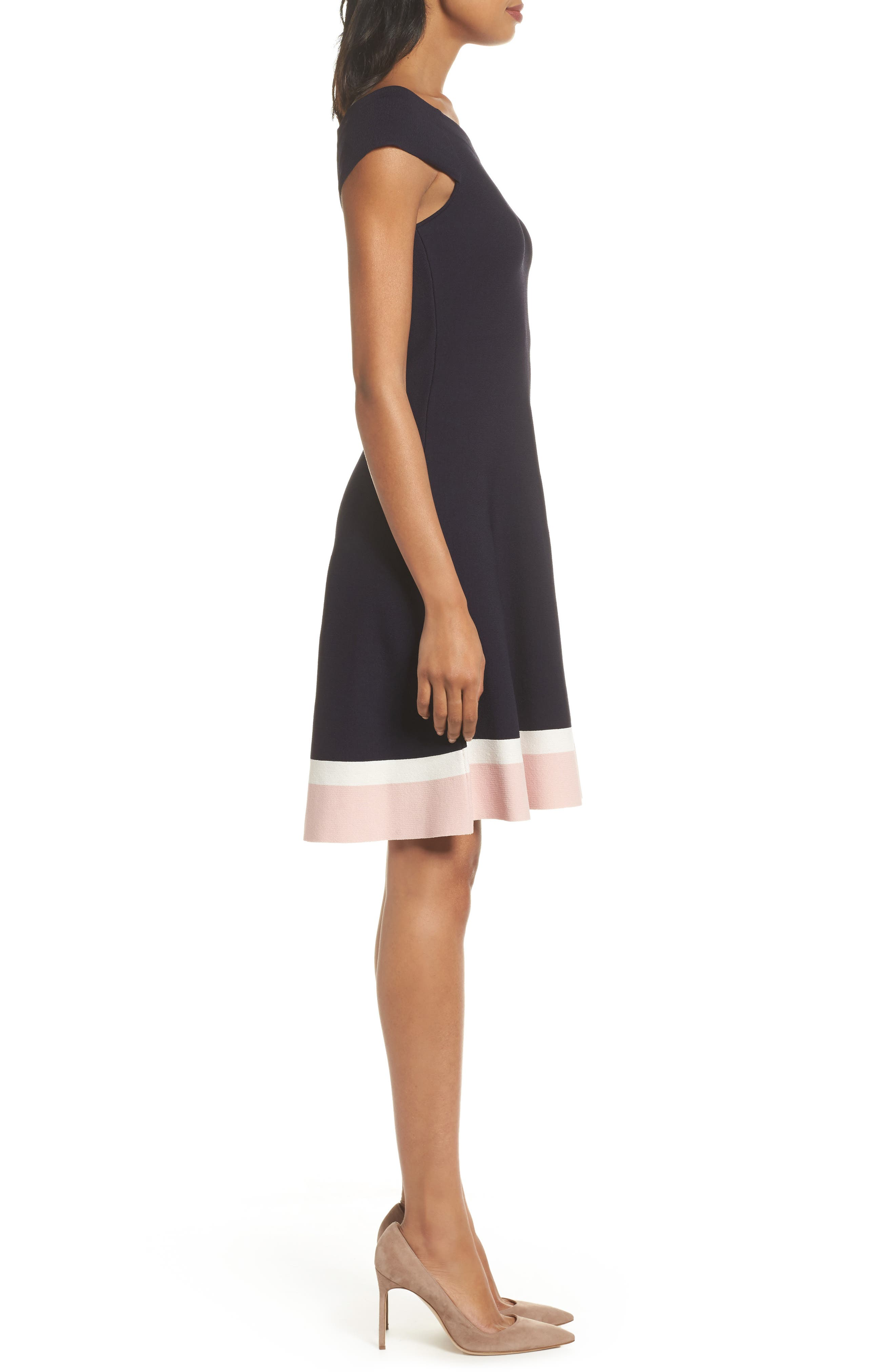 Fit & Flare Dress,                             Alternate thumbnail 3, color,                             410