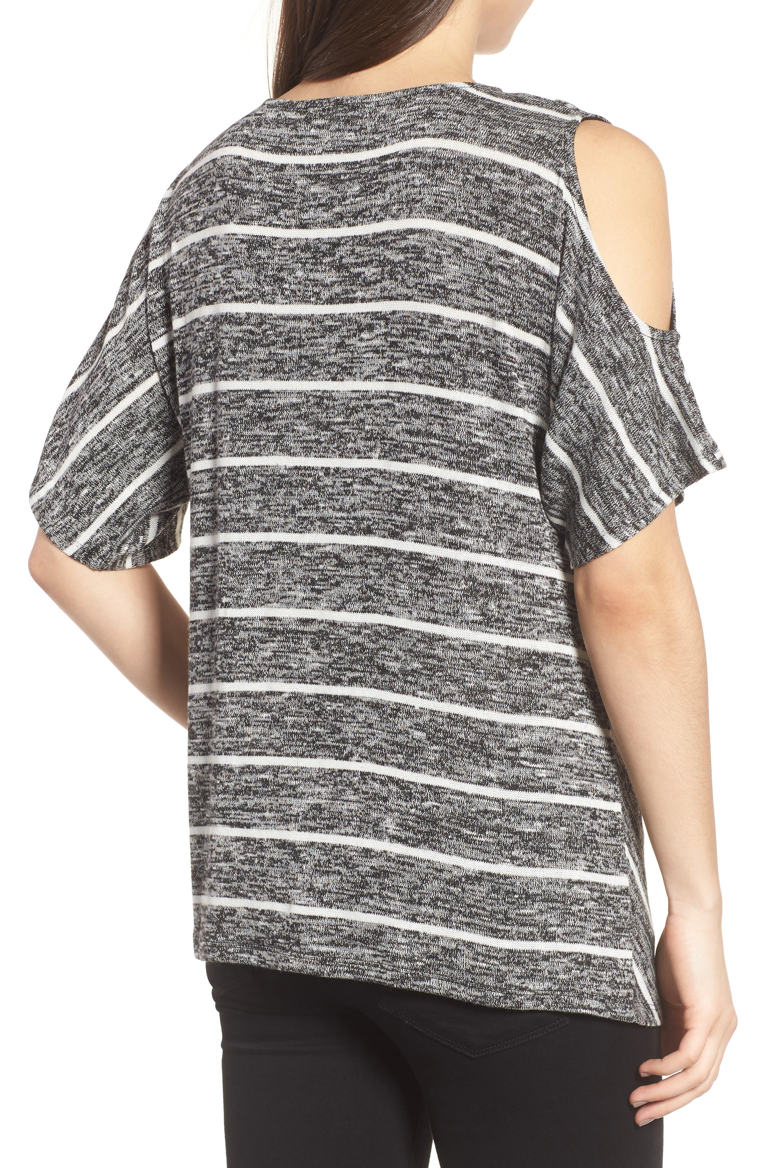 Cold Shoulder Marled Stripe Top,                             Alternate thumbnail 2, color,                             001