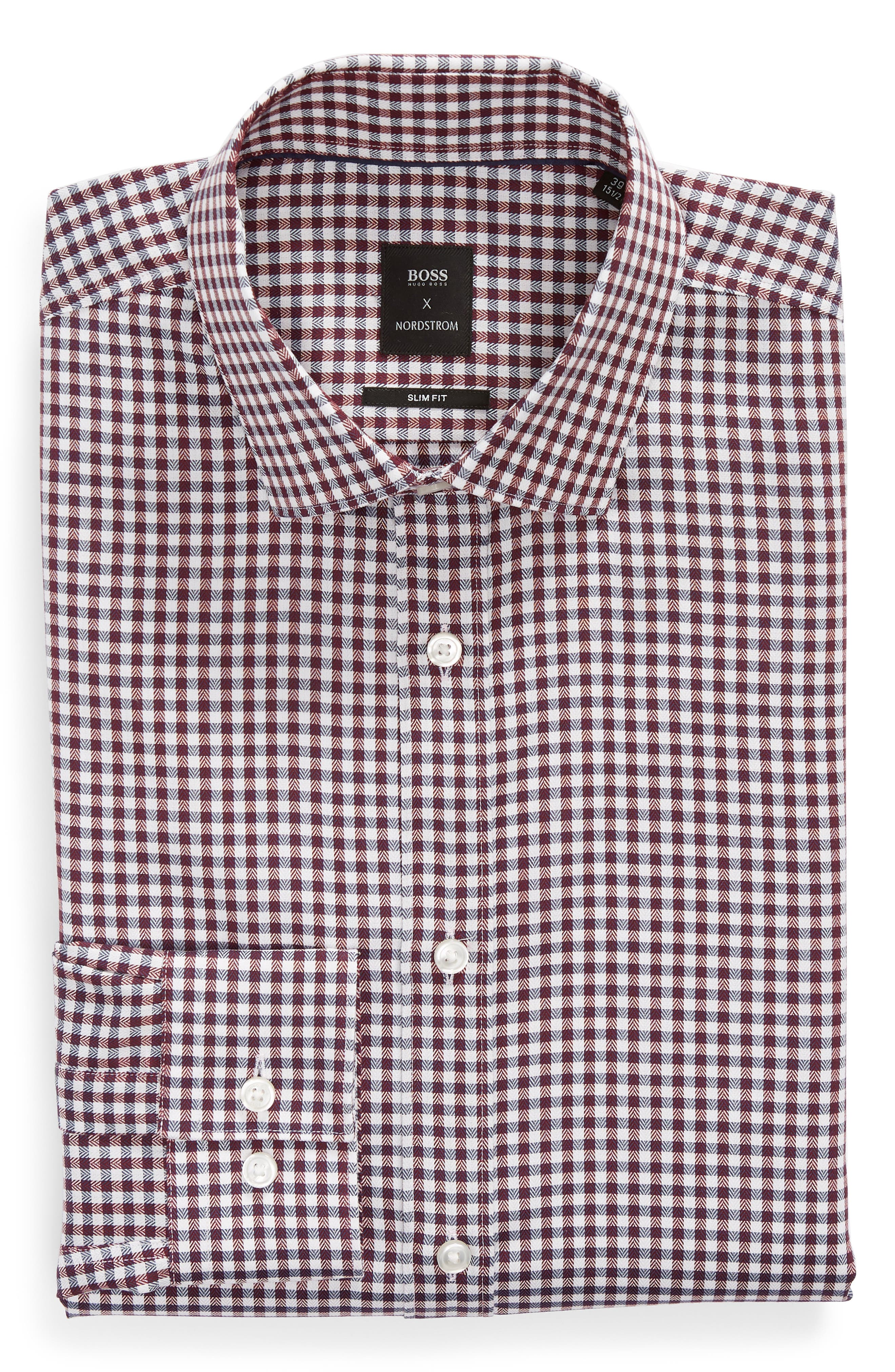 x Nordstrom Isaac Slim Fit Check Dress Shirt,                             Alternate thumbnail 5, color,                             RED