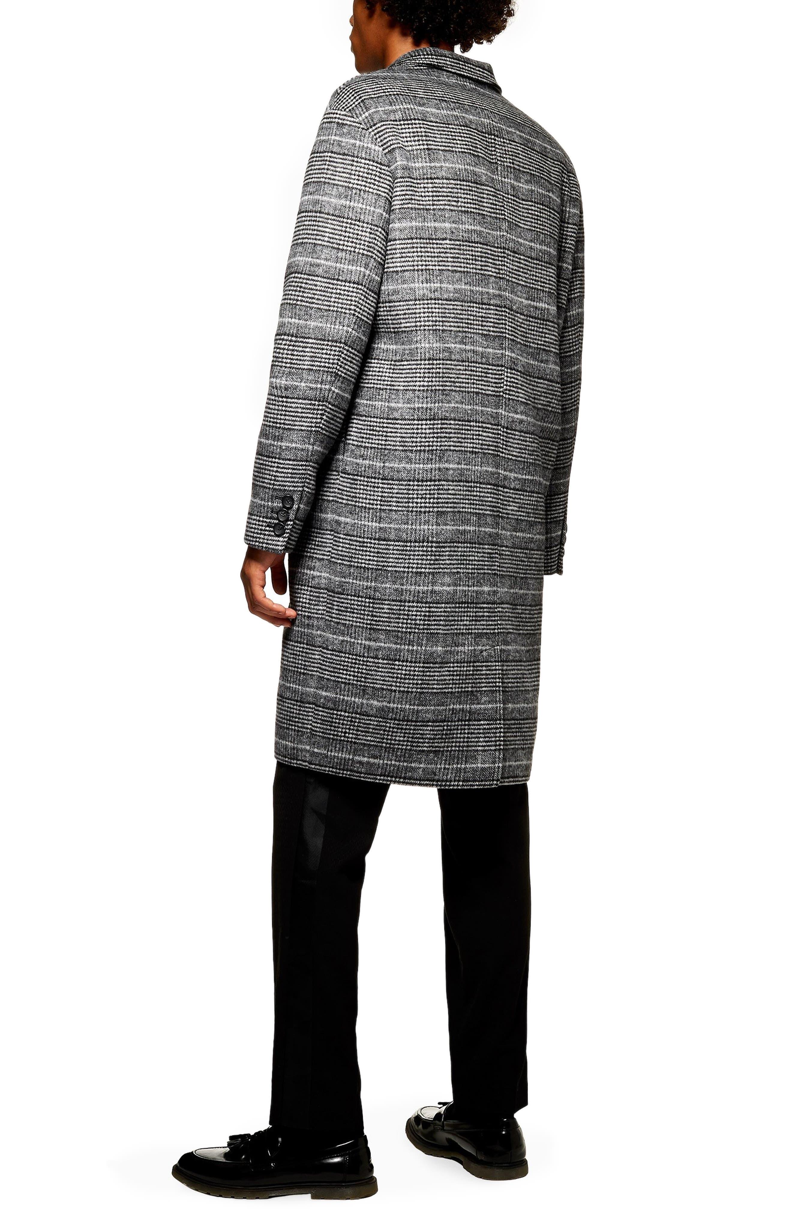 TOPMAN,                             Hayden Check Print Overcoat,                             Alternate thumbnail 2, color,                             020