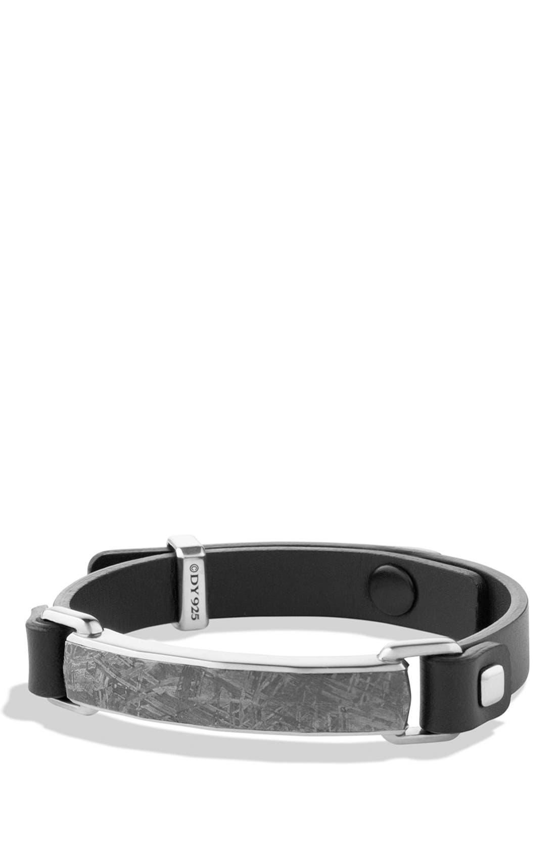 'Meteorite' Leather ID Bracelet in Black,                             Main thumbnail 1, color,