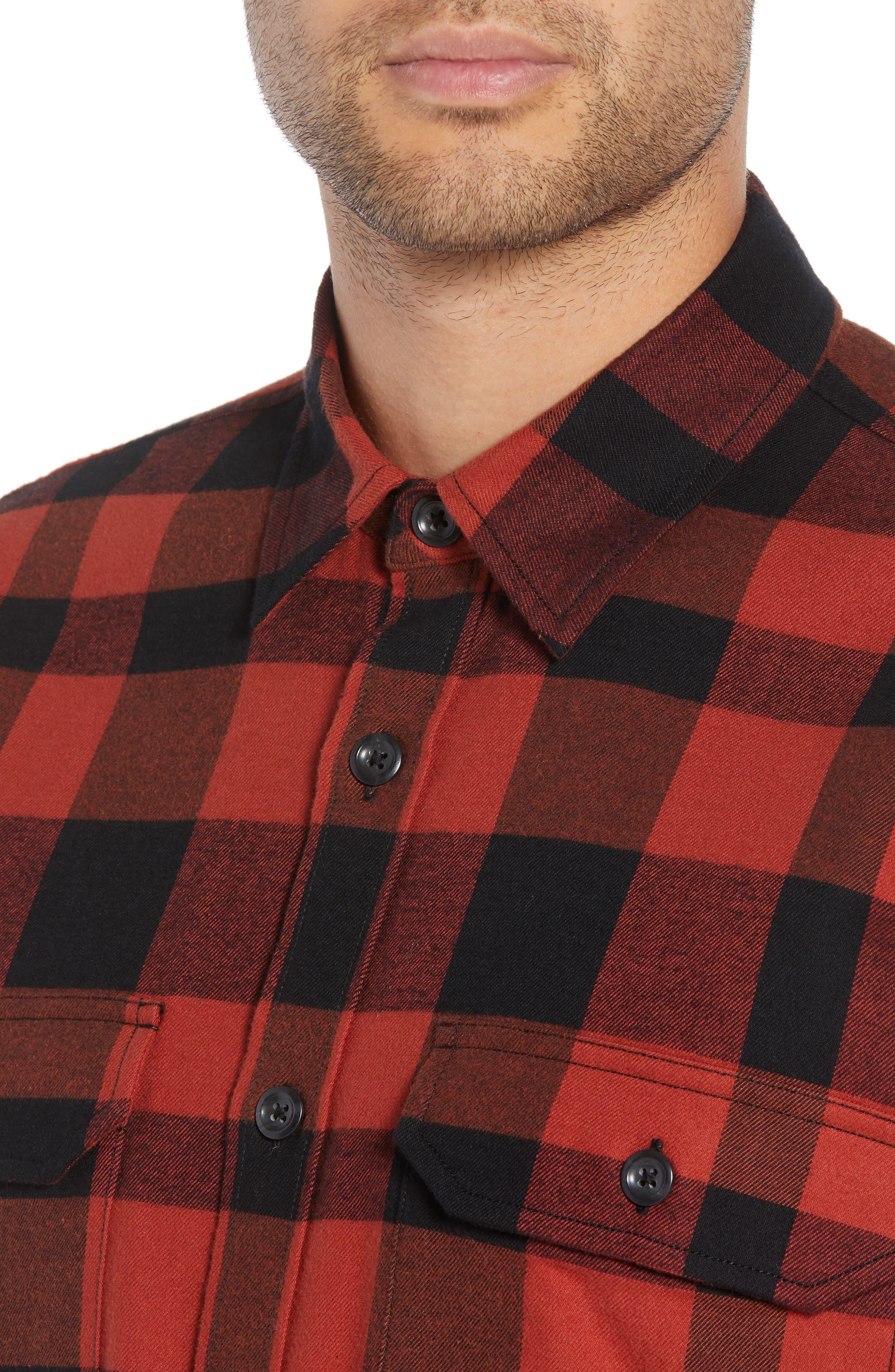 Regular Fit Buffalo Plaid Sport Shirt,                             Alternate thumbnail 2, color,                             BRICK