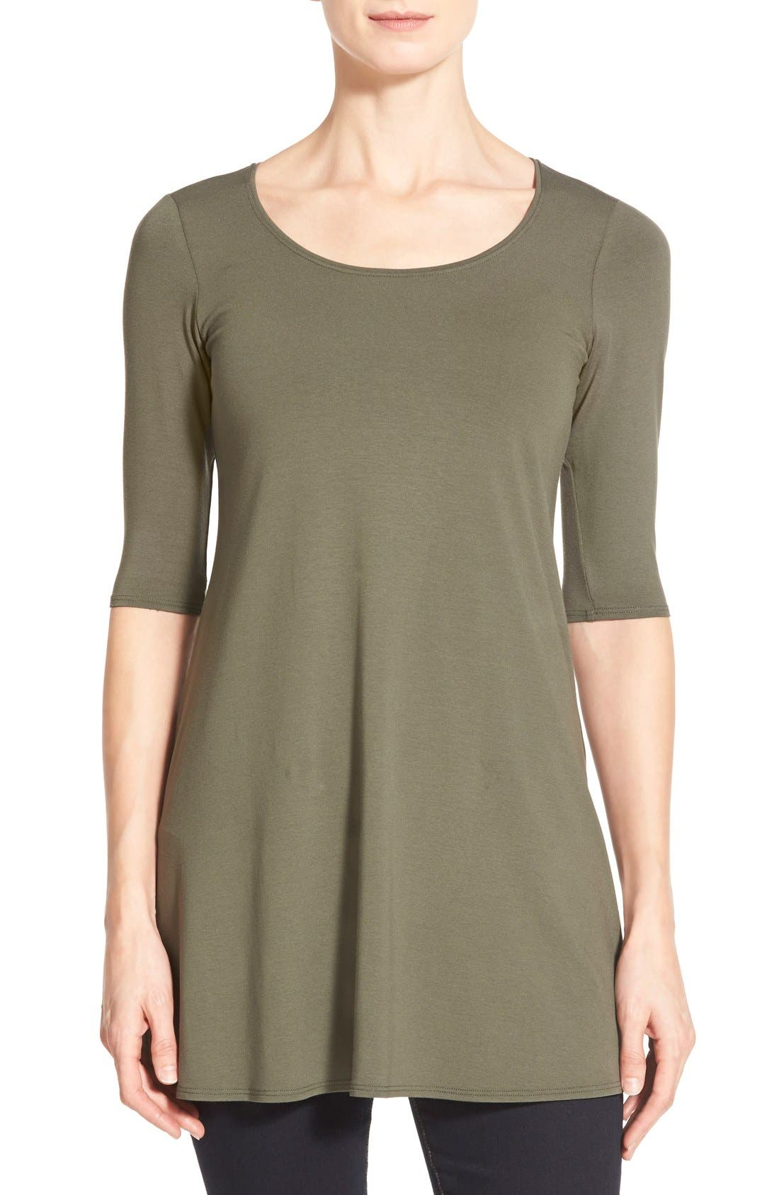 Scoop Neck Elbow Sleeve Jersey Tunic,                             Main thumbnail 5, color,