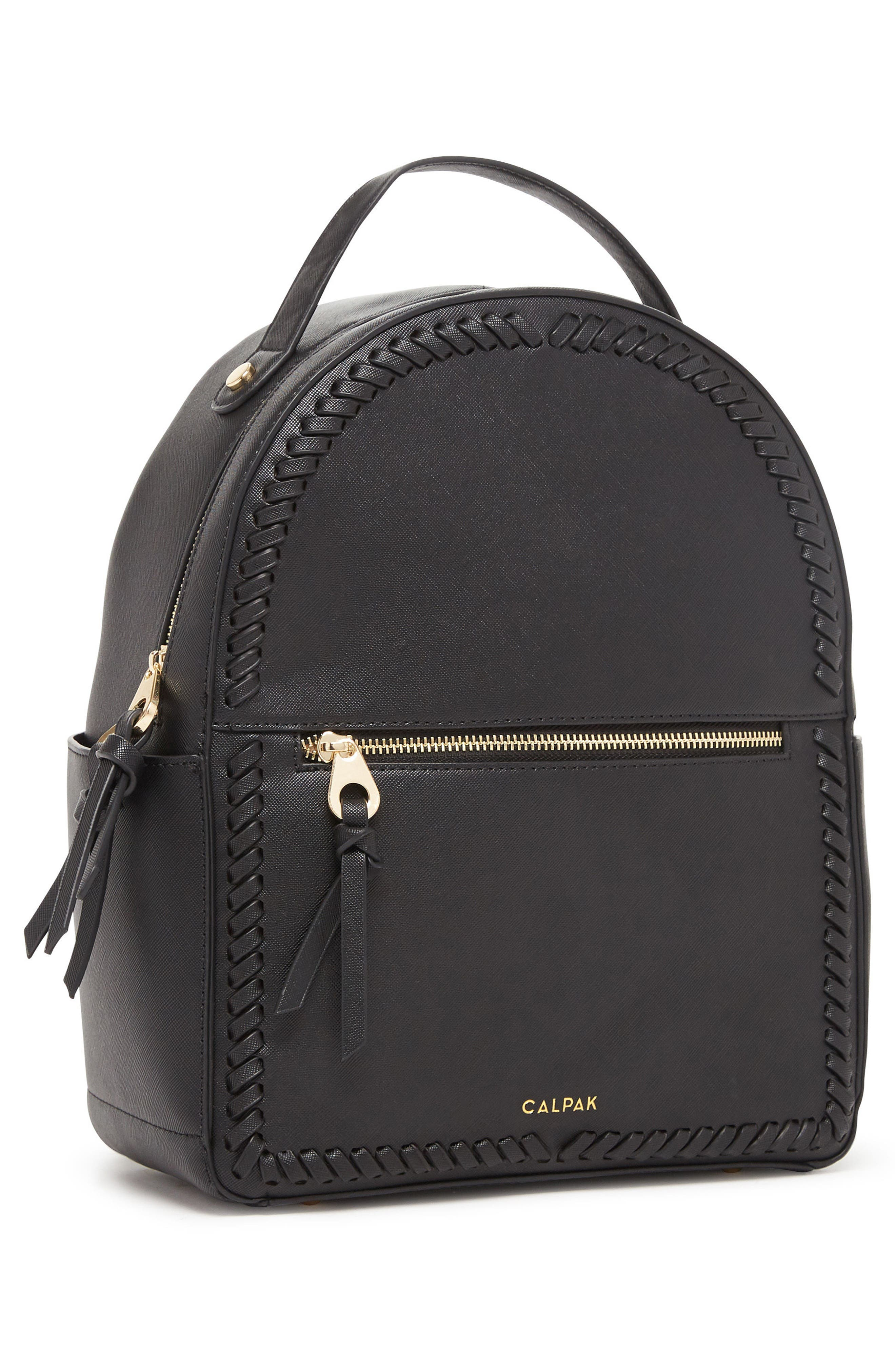 Kaya Faux Leather Round Backpack,                             Alternate thumbnail 4, color,                             BLACK
