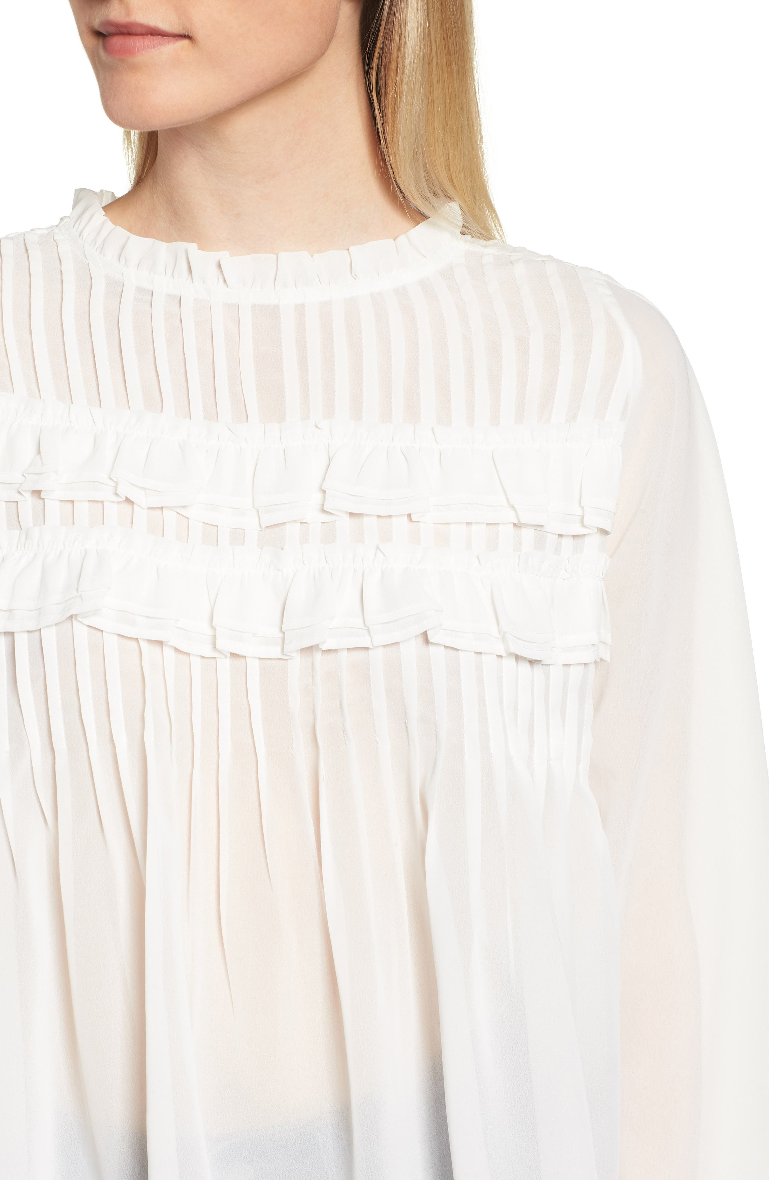 Pintucked Chiffon Blouse,                             Alternate thumbnail 4, color,                             OFF WHITE