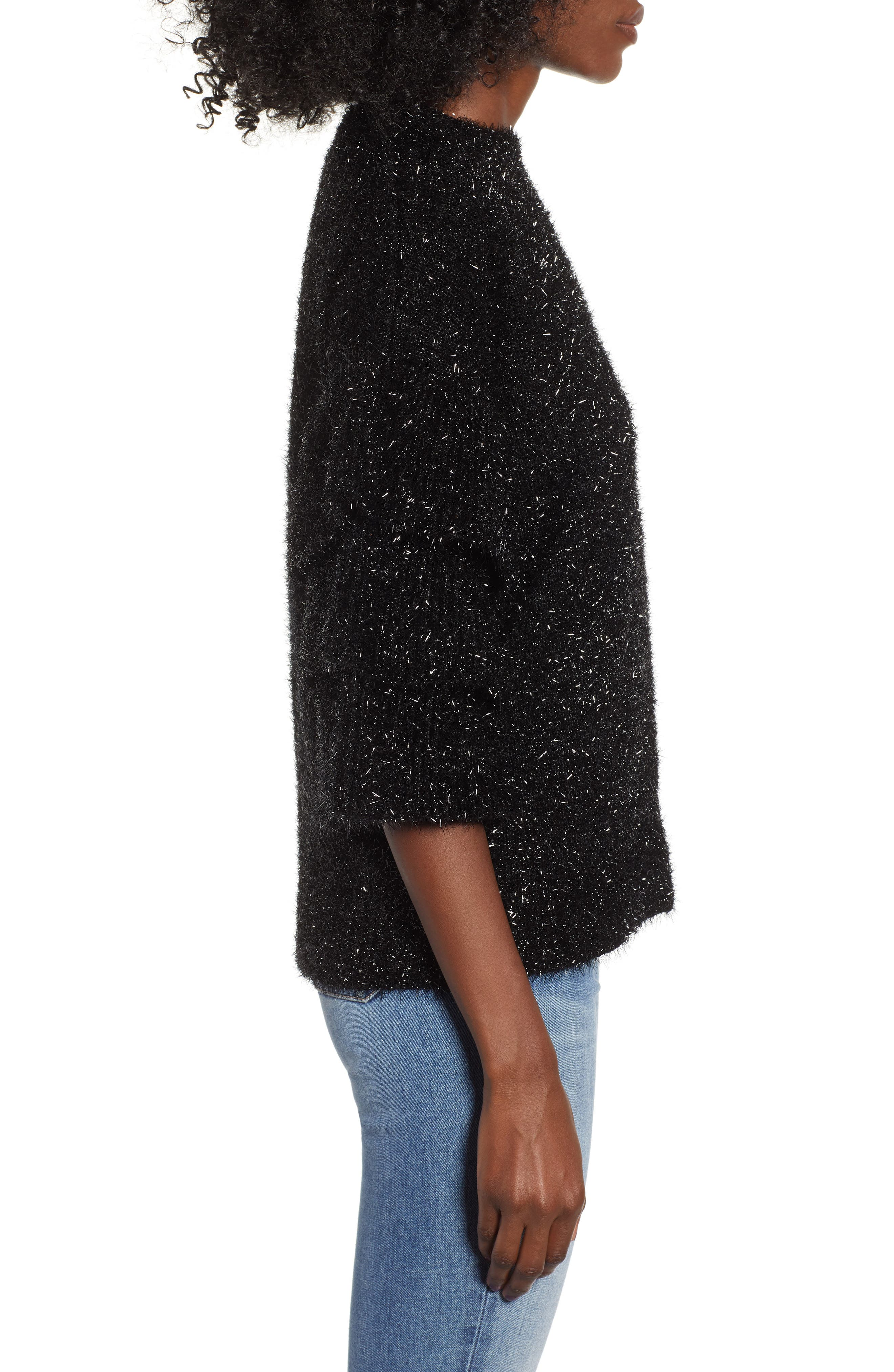 Tiered Sleeve Sweater,                             Alternate thumbnail 3, color,                             BLACK