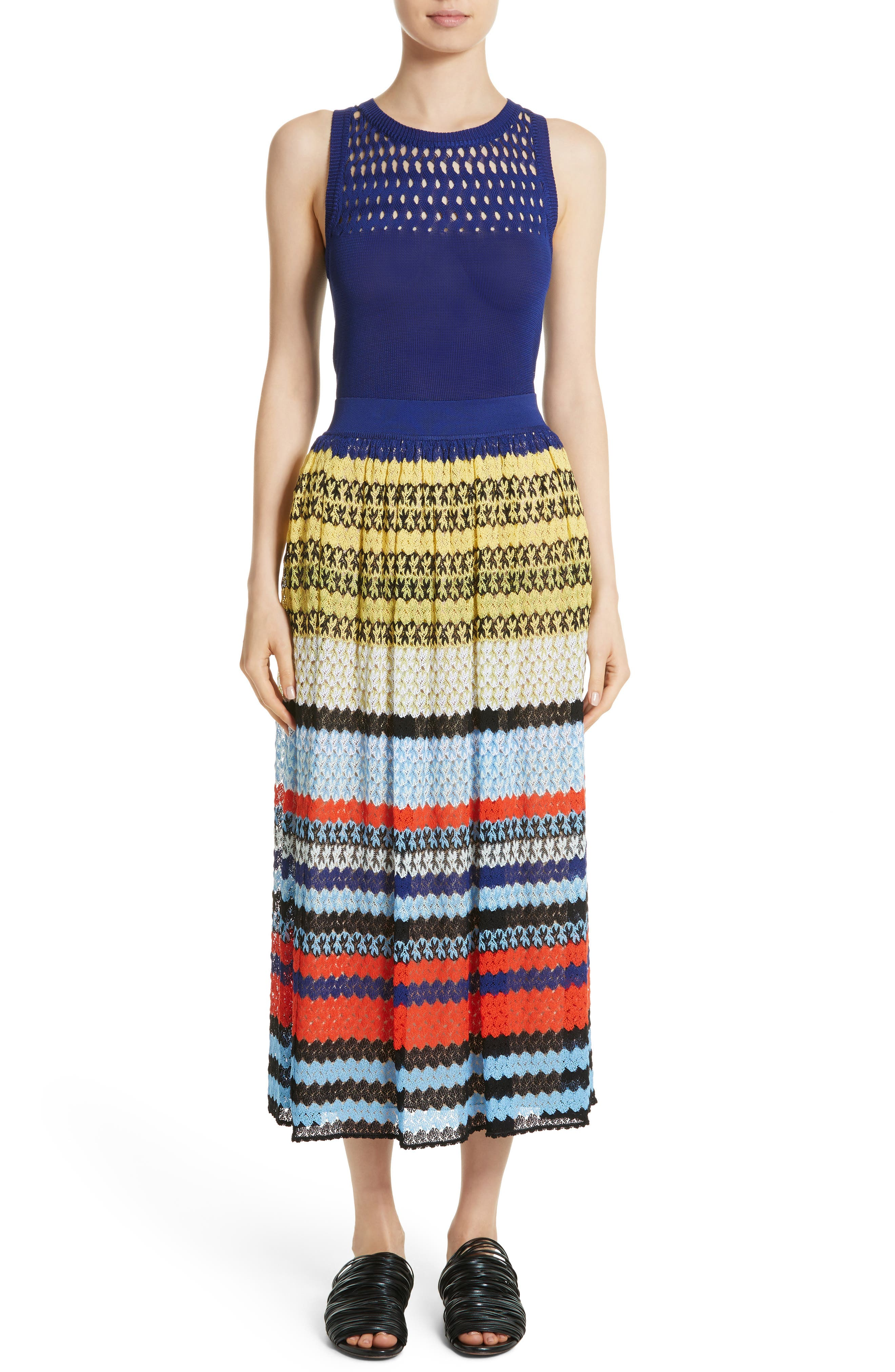 Stripe Knit Midi Skirt,                             Alternate thumbnail 7, color,                             480