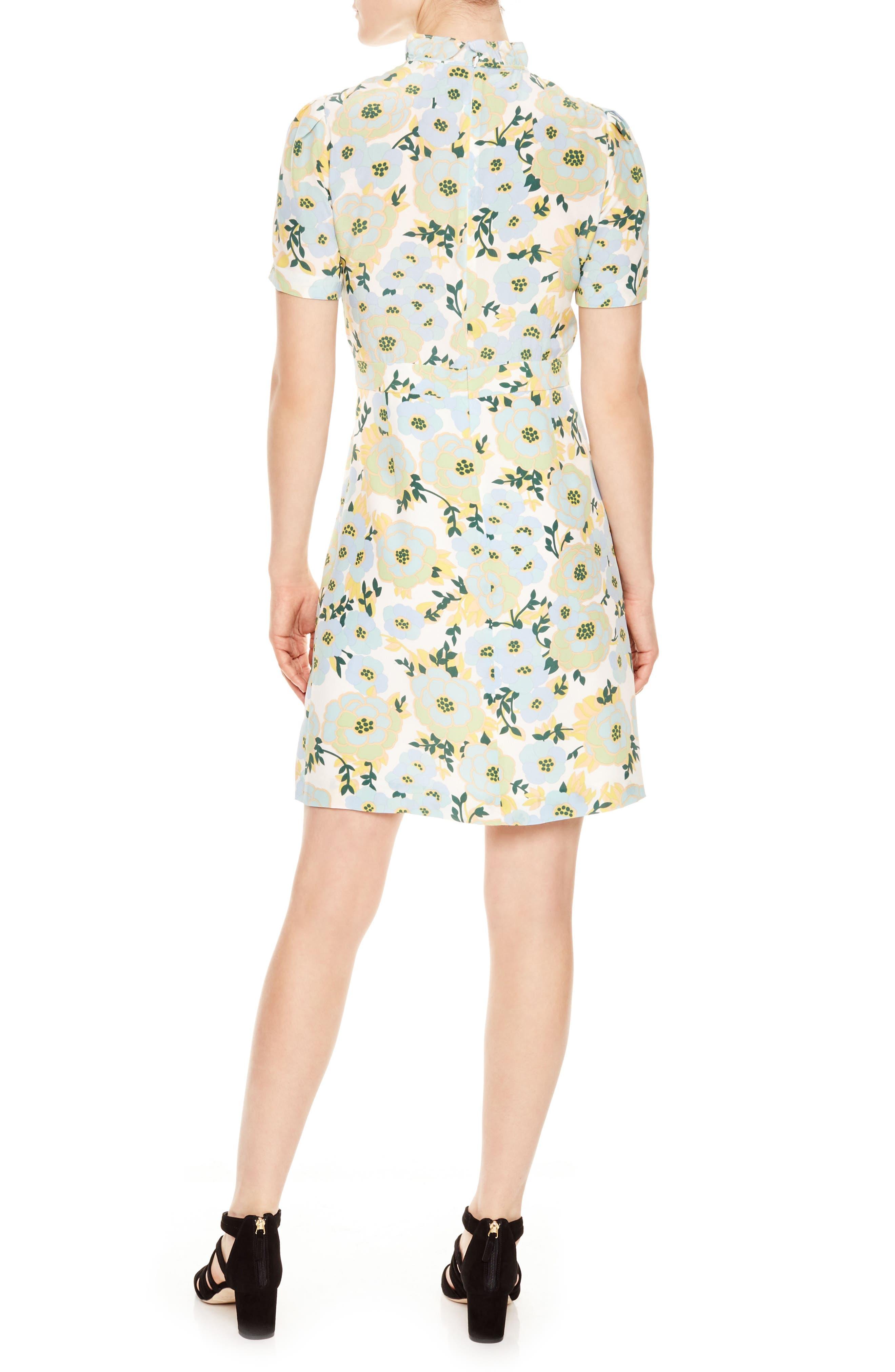 Floral A-Line Silk Dress,                             Alternate thumbnail 2, color,                             300